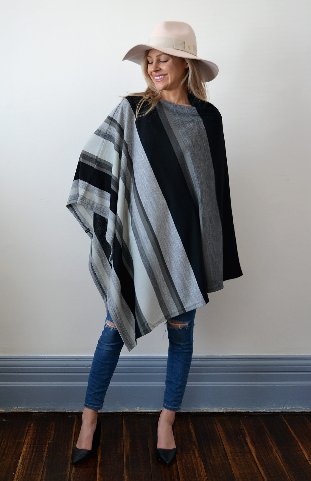 Oversized Poncho - Striped & Patterned - Women's Black Multi Striped Oversized Wool Poncho - Smitten Merino Tasmania Australia