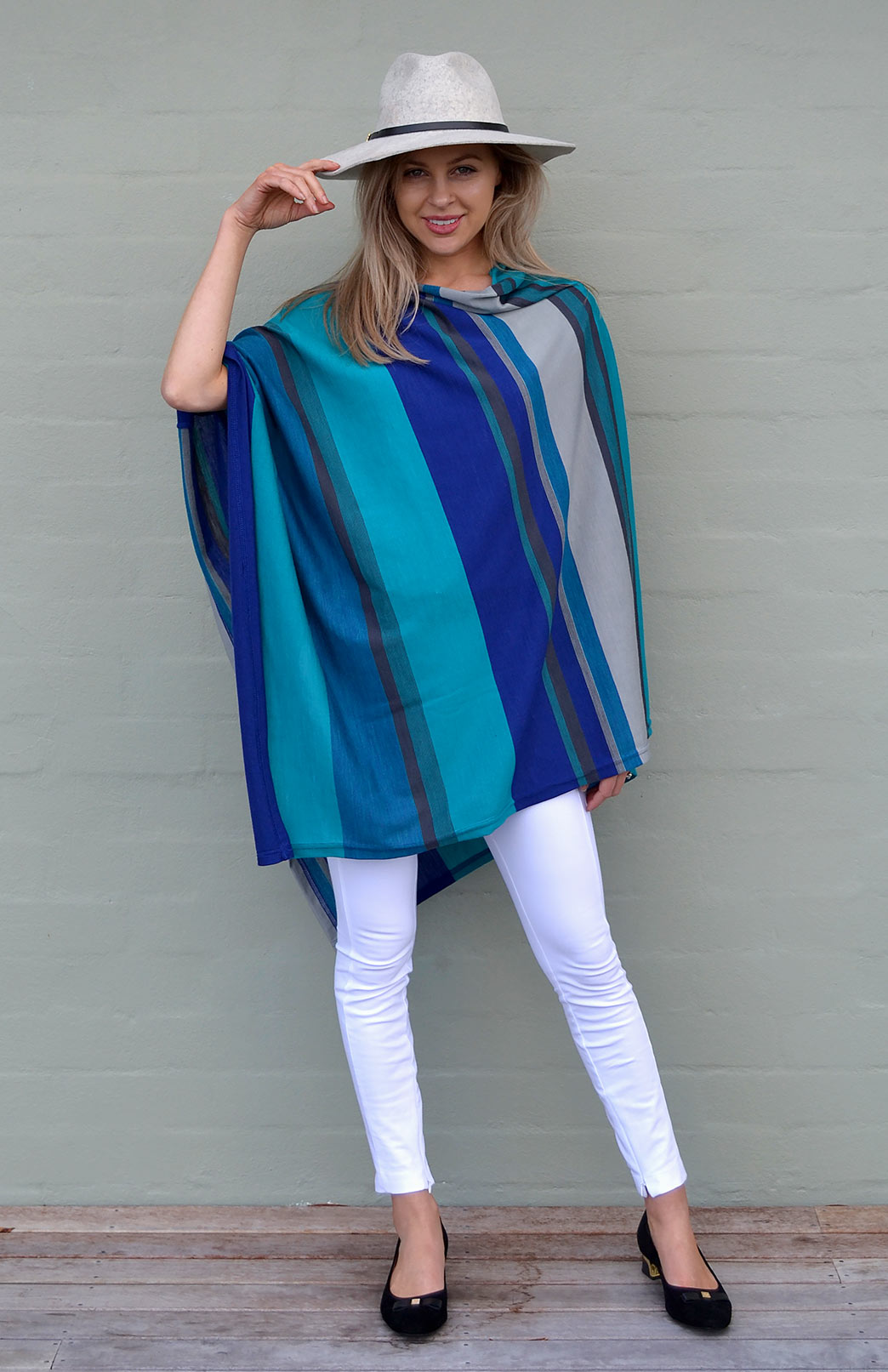 Oversized Poncho - Striped & Patterned - Women's Blue Multi Stripe Oversized Wool Poncho - Smitten Merino Tasmania Australia