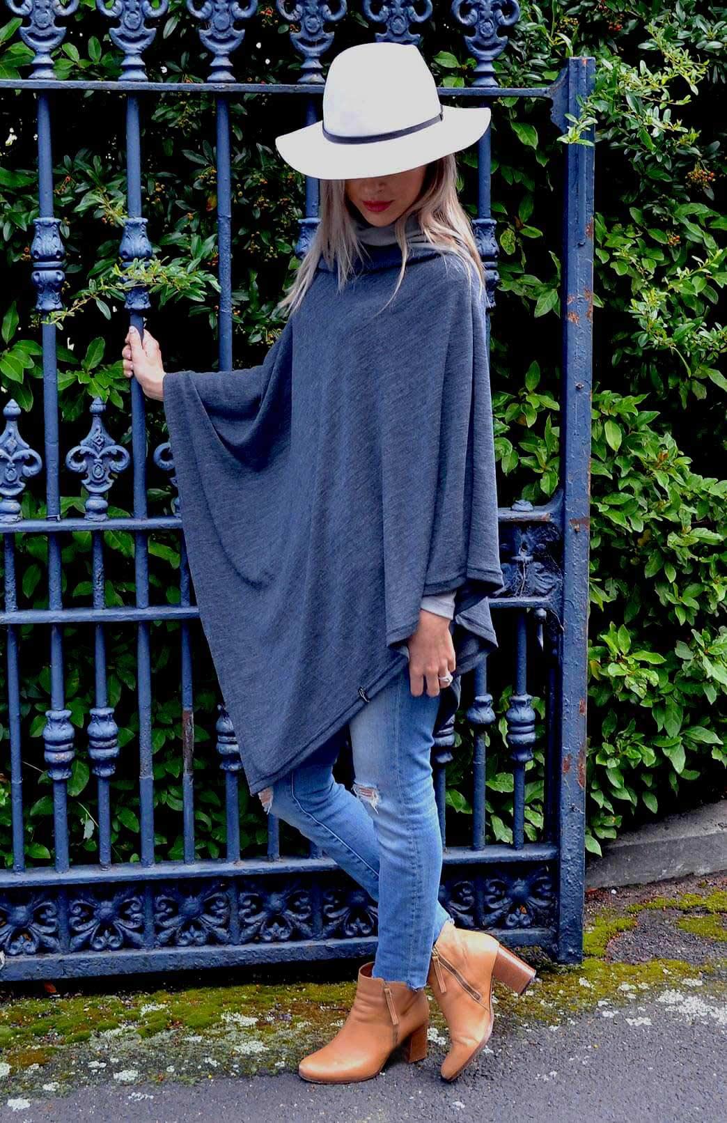 Oversized Poncho - Plain - Women's Charcoal Grey Wool Oversized Poncho - Smitten Merino Tasmania Australia