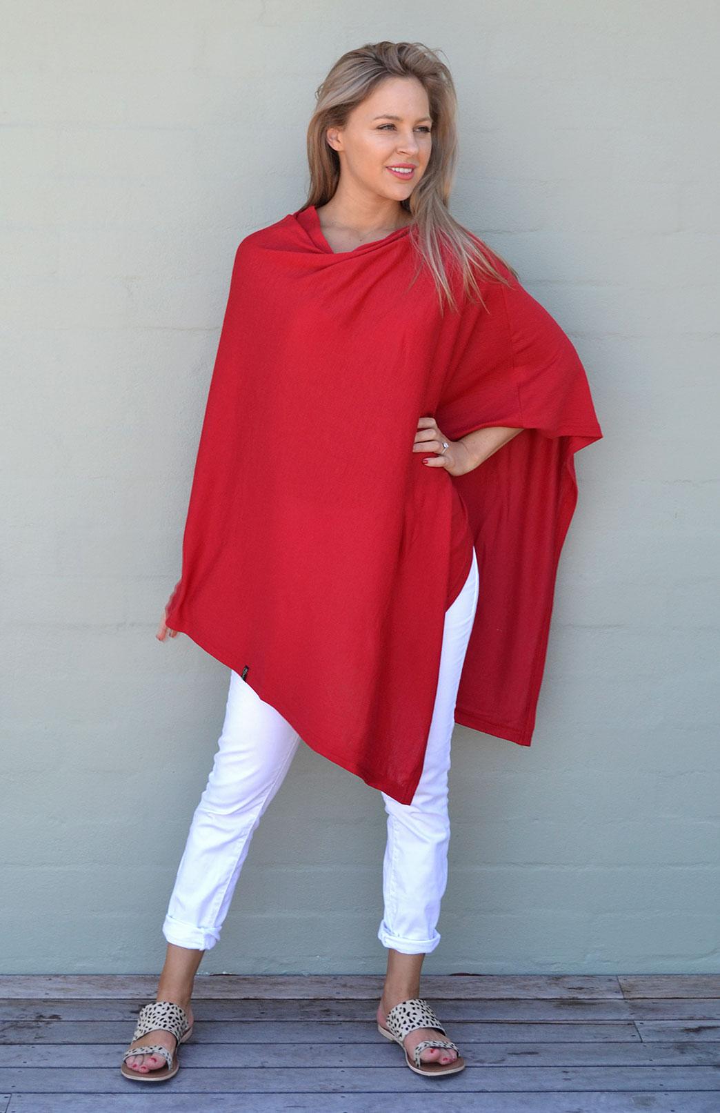 Oversized Wool Poncho - Plain - Women's Oversized Red Wool Poncho - Smitten Merino Tasmania Australia