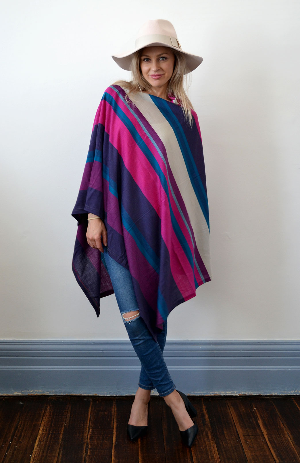 Oversized Poncho - Striped & Patterned - Women's Grape Purple Multi Striped Oversized Wool Poncho - Smitten Merino Tasmania Australia