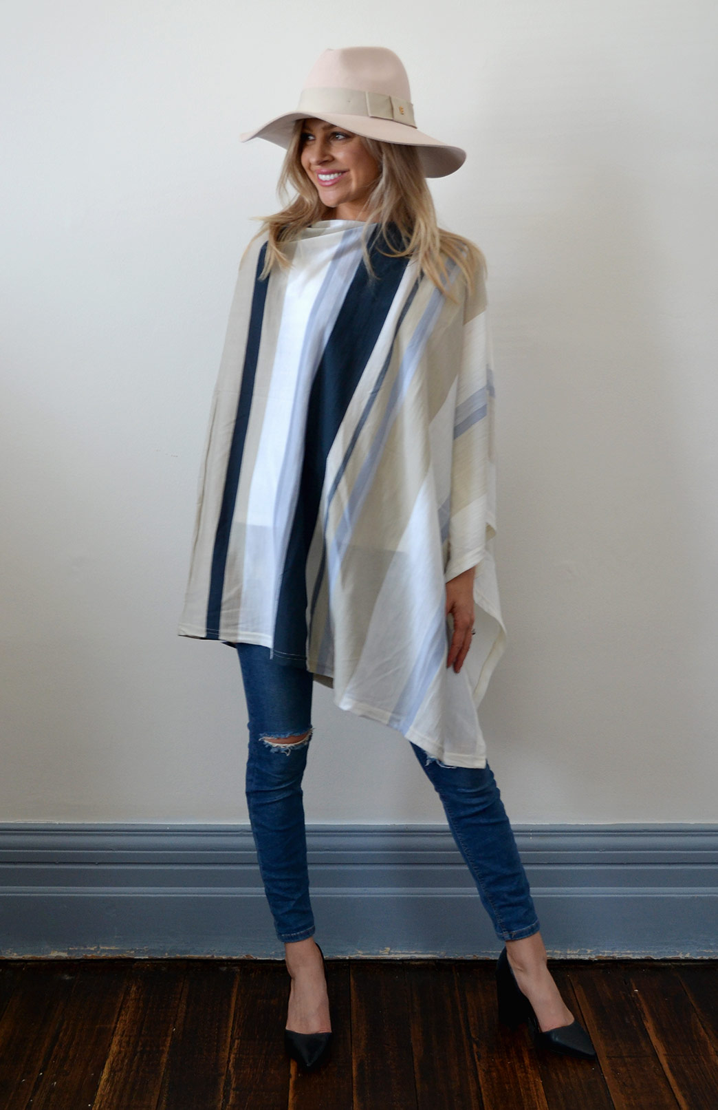Oversized Poncho - Striped & Patterned - Women's Ivory Multi Striped Oversized Wool Poncho - Smitten Merino Tasmania Australia