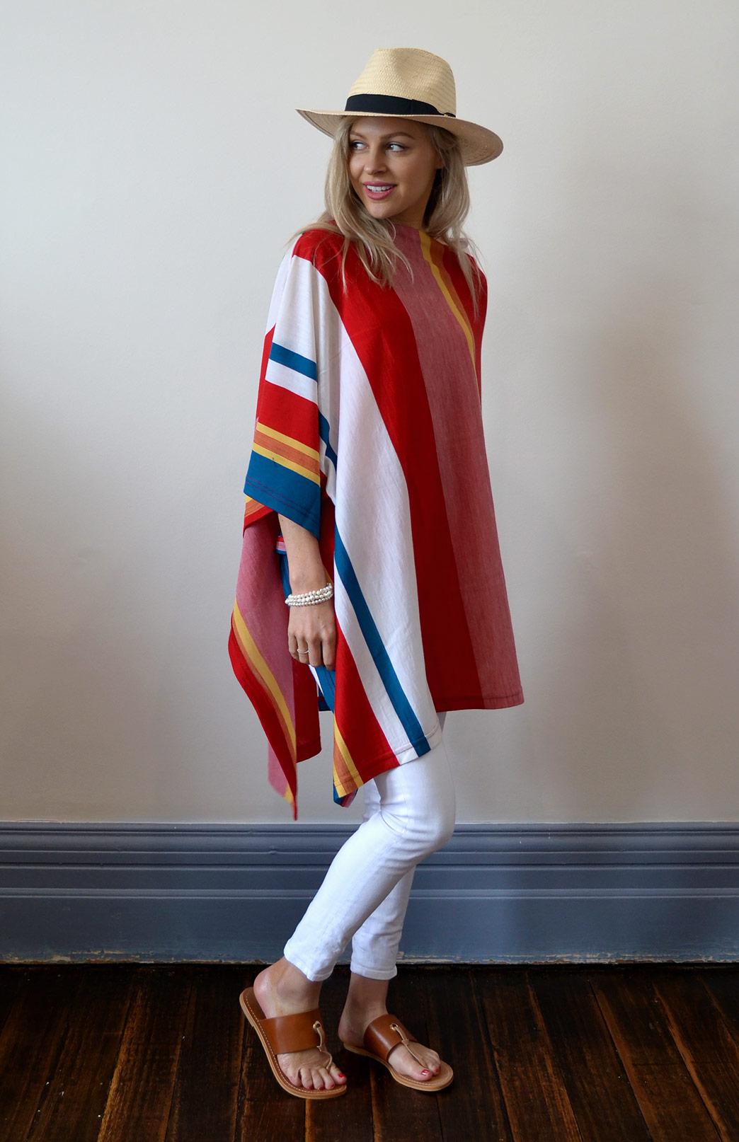 Oversized Poncho - Striped & Patterned - Women's Red and Yellow Striped Oversized Wool Poncho - Smitten Merino Tasmania Australia
