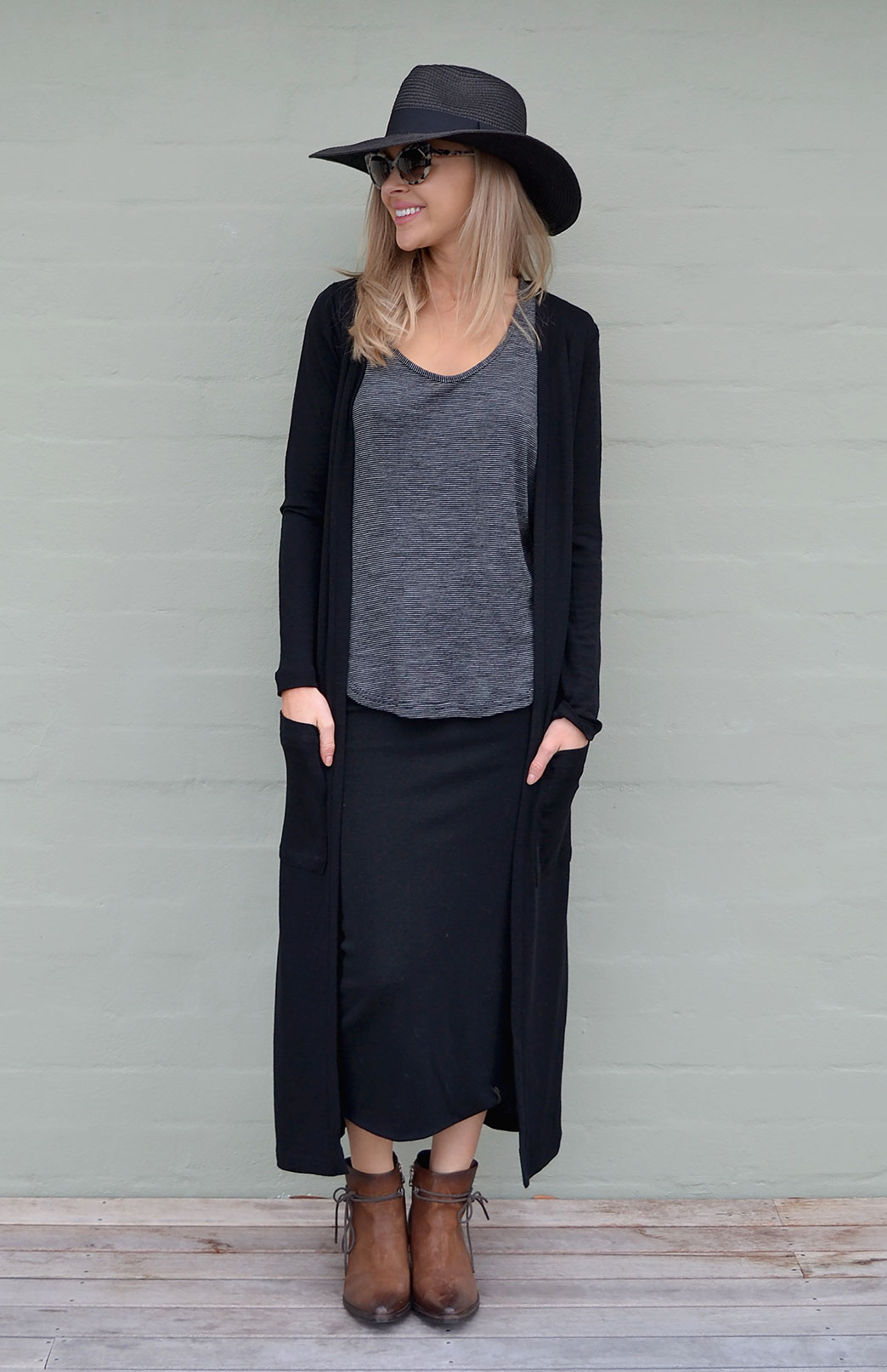Coatigan - Women's Long Line Classic Black Long Sleeved Cardigan with Pockets - Smitten Merino Tasmania Australia