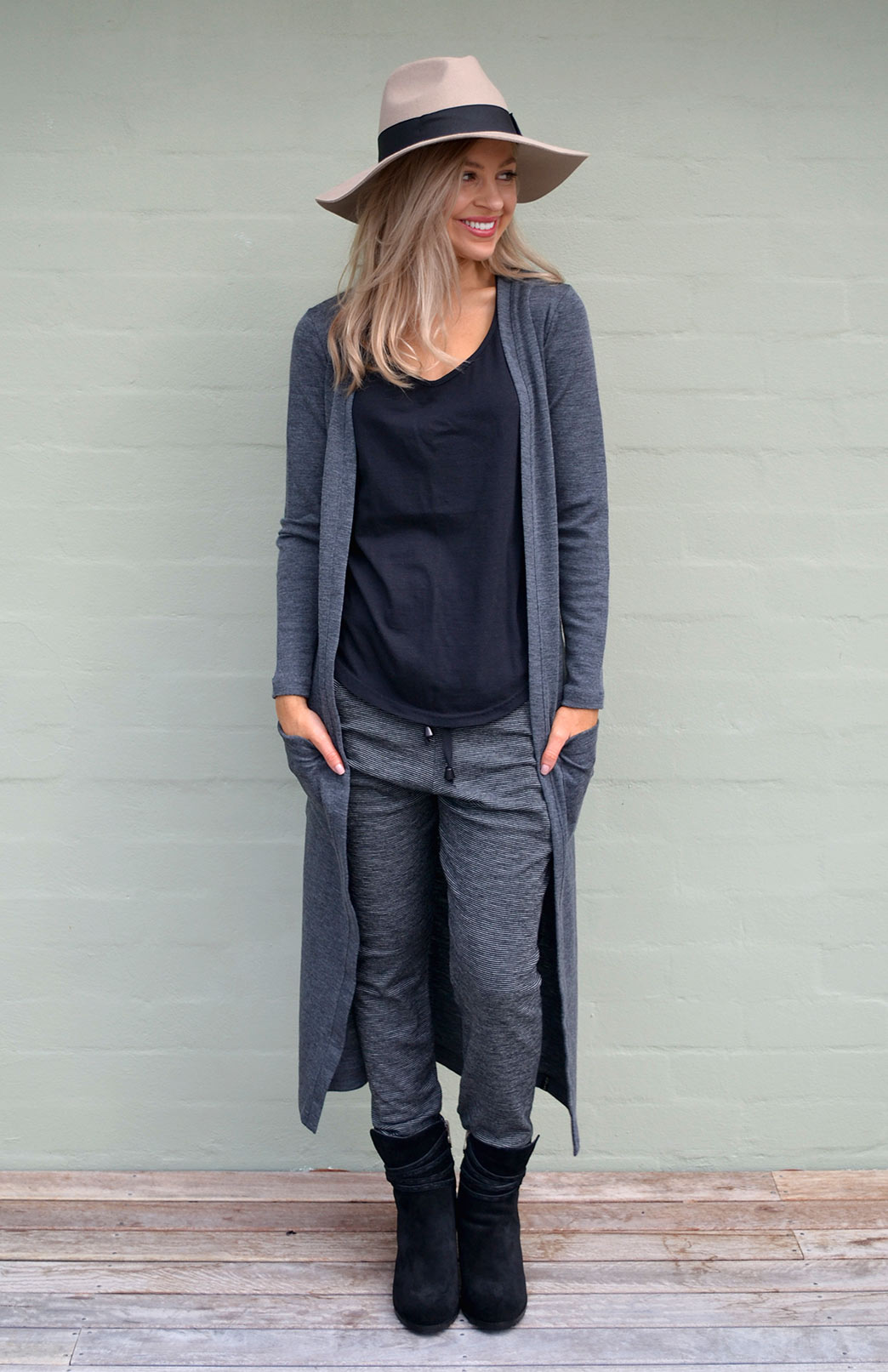 Coatigan - Women's Long Line Dark Grey Charcoal Long Sleeved Cardigan with Pockets - Smitten Merino Tasmania Australia
