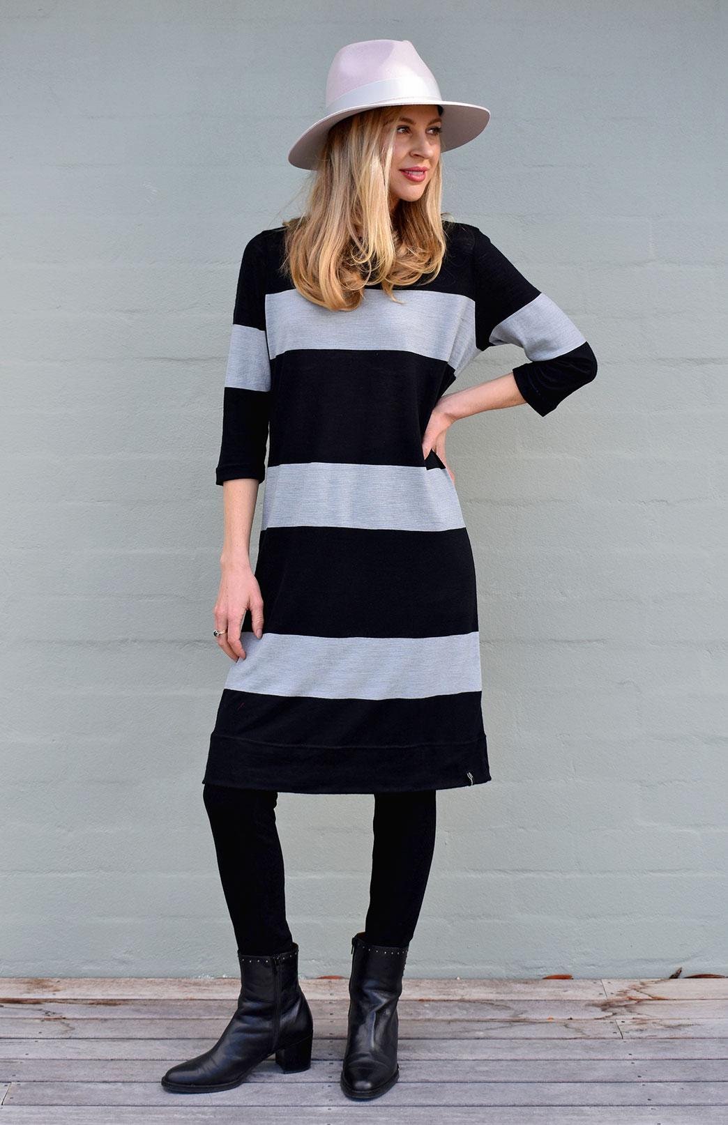Audrey Shift Dress - Women's Striped 100% Superfine Merino Wool Classic Knee Length Dress - Smitten Merino Tasmania Australia