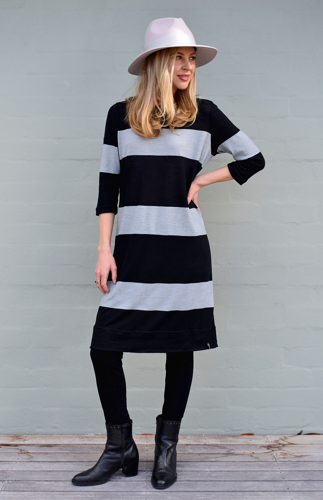 Audrey Shift Dress - Women's Striped 100% Superfine Merino Wool Classic Knee Length Dress - Smitten Merino Tasmania Australia