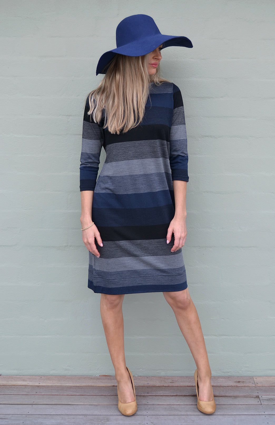 Audrey Shift Dress - Women's Striped Merino Wool Classic Knee Length Dress - Smitten Merino Tasmania Australia