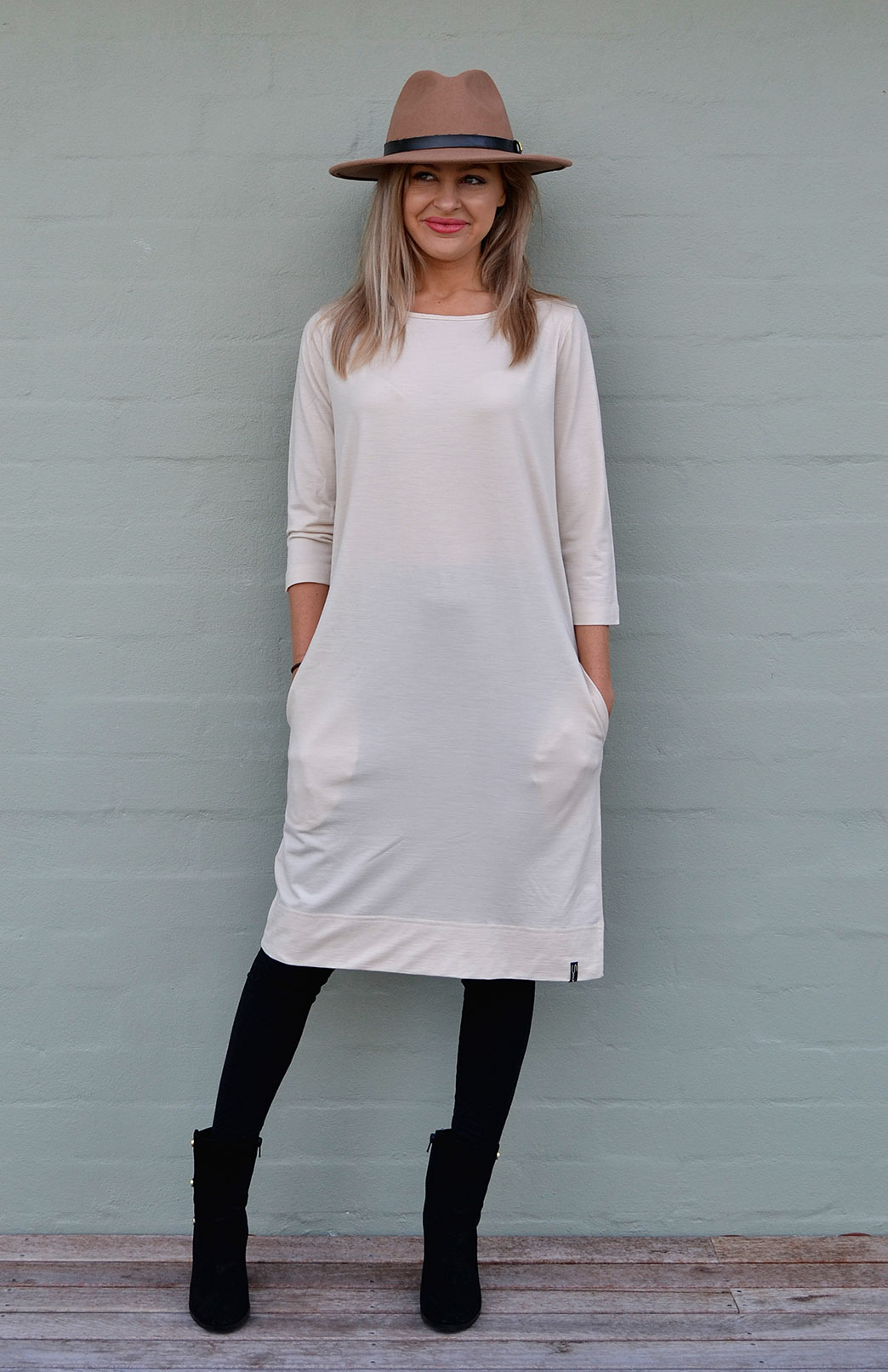 Audrey Shift Dress - Women's Cream Merino Wool Classic Knee Length Dress - Smitten Merino Tasmania Australia