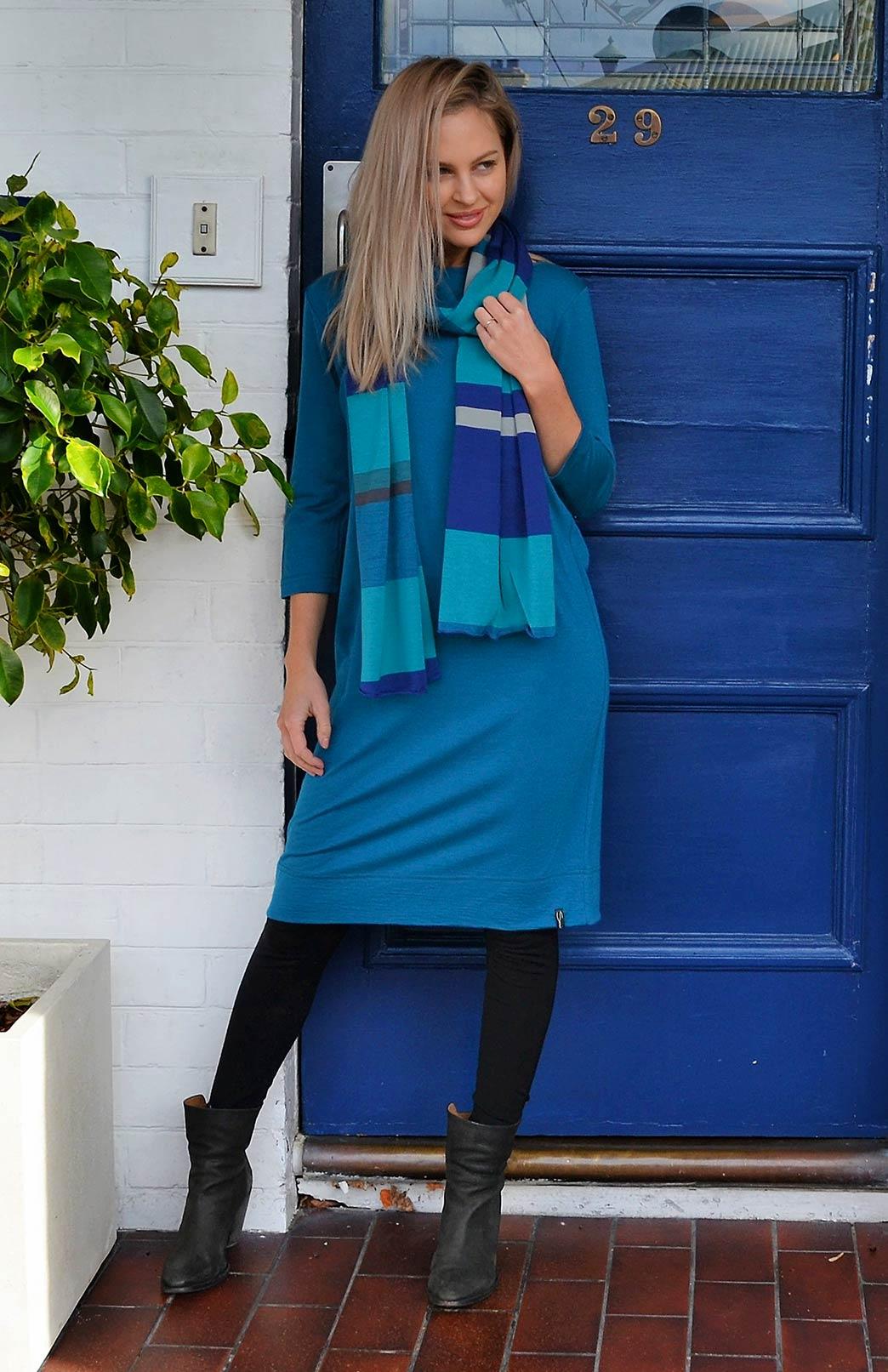 Audrey Shift Dress - Women's Teal Merino Wool Classic Knee Length Dress - Smitten Merino Tasmania Australia