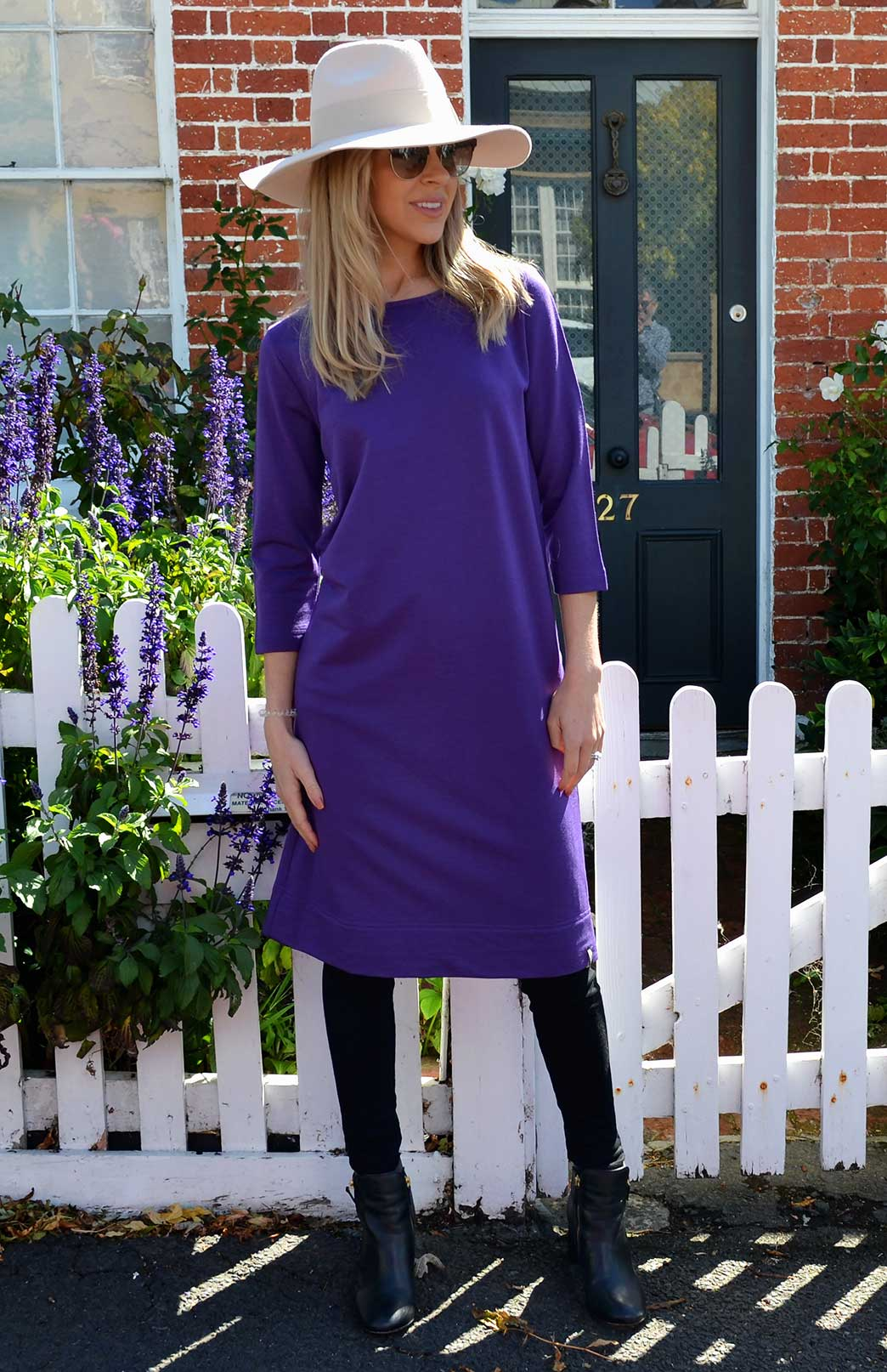 Audrey Shift Dress - Women's Violet Purple Merino Wool Classic Knee Length Dress - Smitten Merino Tasmania Australia