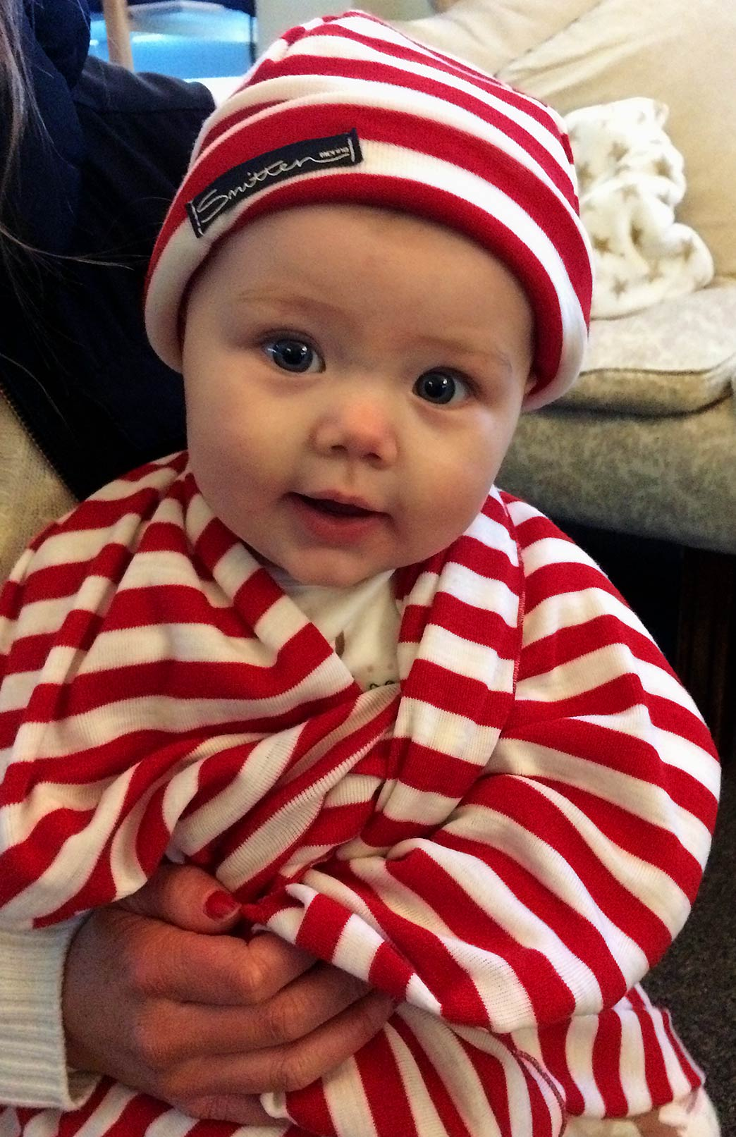 Baby Wrap and Beanie Set - Merino Wool Baby Wrap Blanket and Beanie Gift Set (Limited Edition Red White Stripe Combo) - Smitten Merino Tasmania Australia