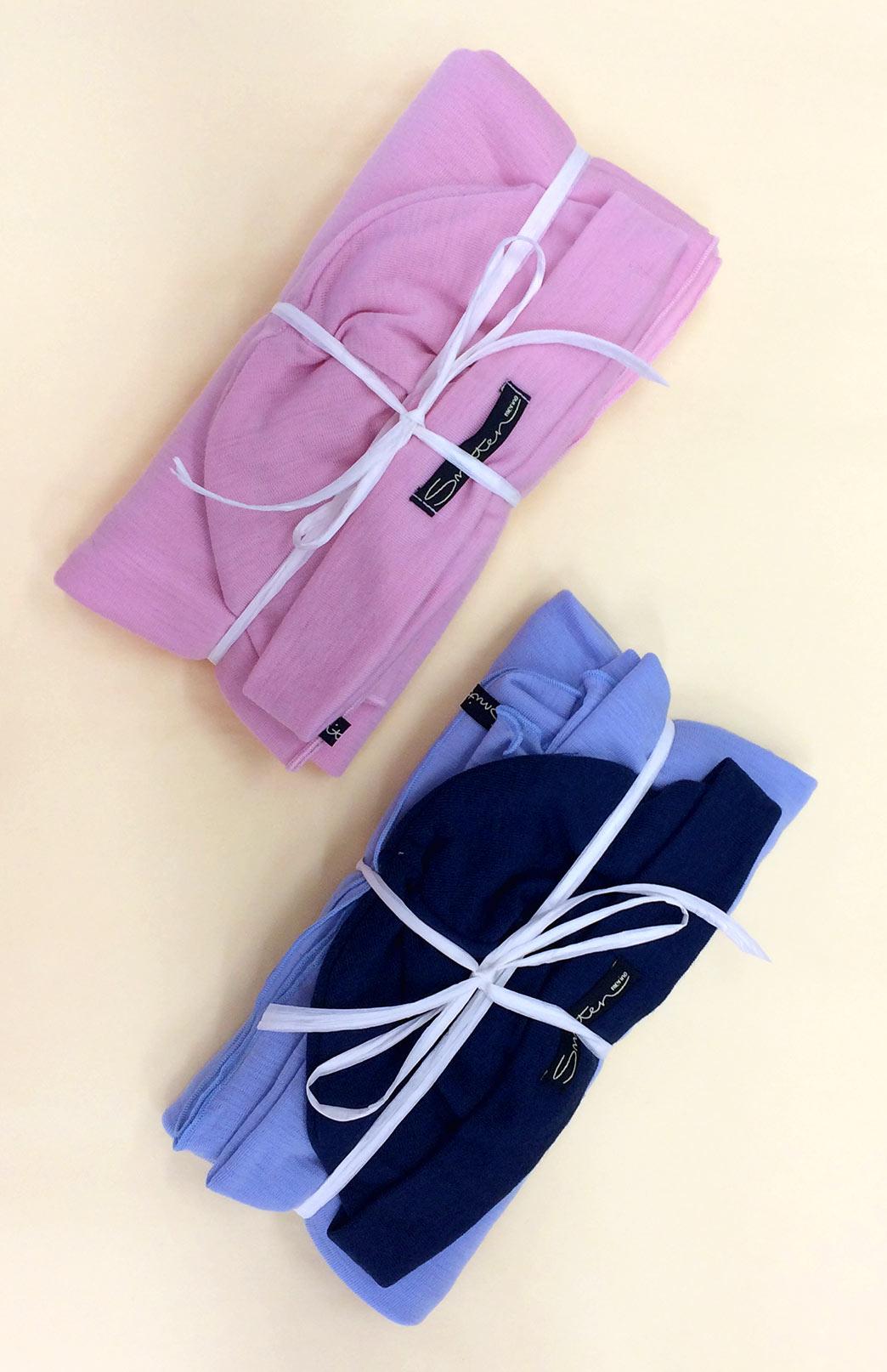 Baby Wrap and Beanie Set - Merino Wool Baby Wrap Blanket and Beanie Gift Set (Soft Pink Wrap and Matching Beanie) - Smitten Merino Tasmania Australia