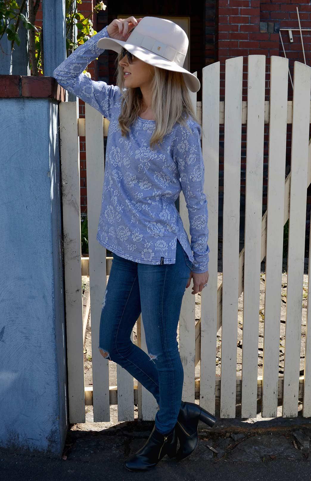 Lucy Top - Women's Long Sleeve Cotton Top - Smitten Merino Tasmania Australia
