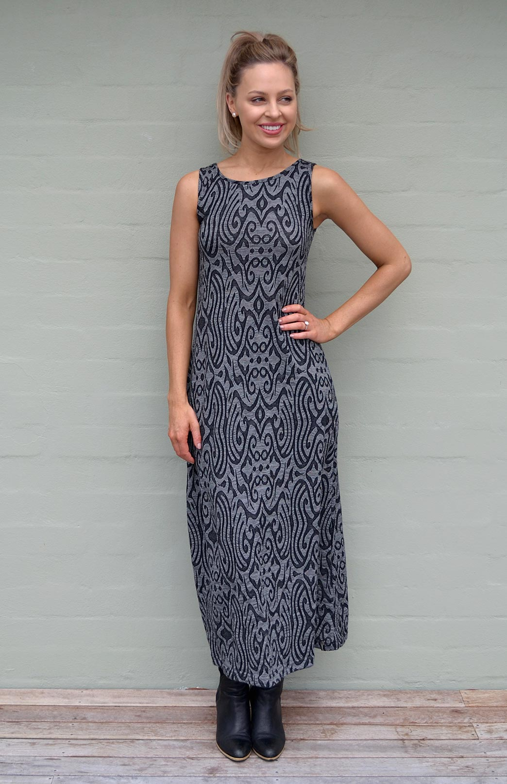 Boat Neck Maxi Dress - Pattern - Women's Black & Grey Long Wool Maxi Summer Dress - Smitten Merino Tasmania Australia