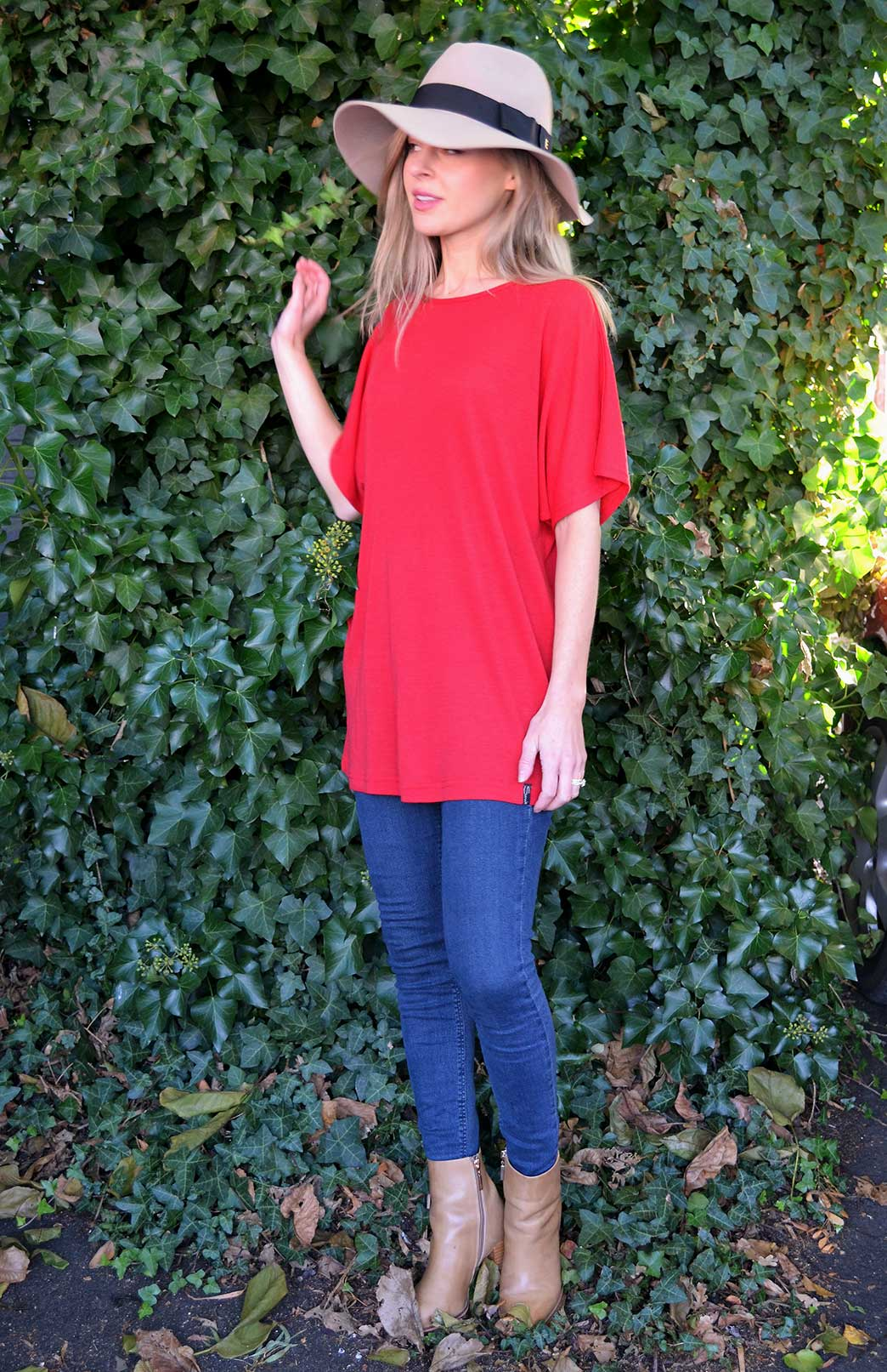 Loose T-Shirt - Women's Loose Wool Red Summer Top - Smitten Merino Tasmania Australia