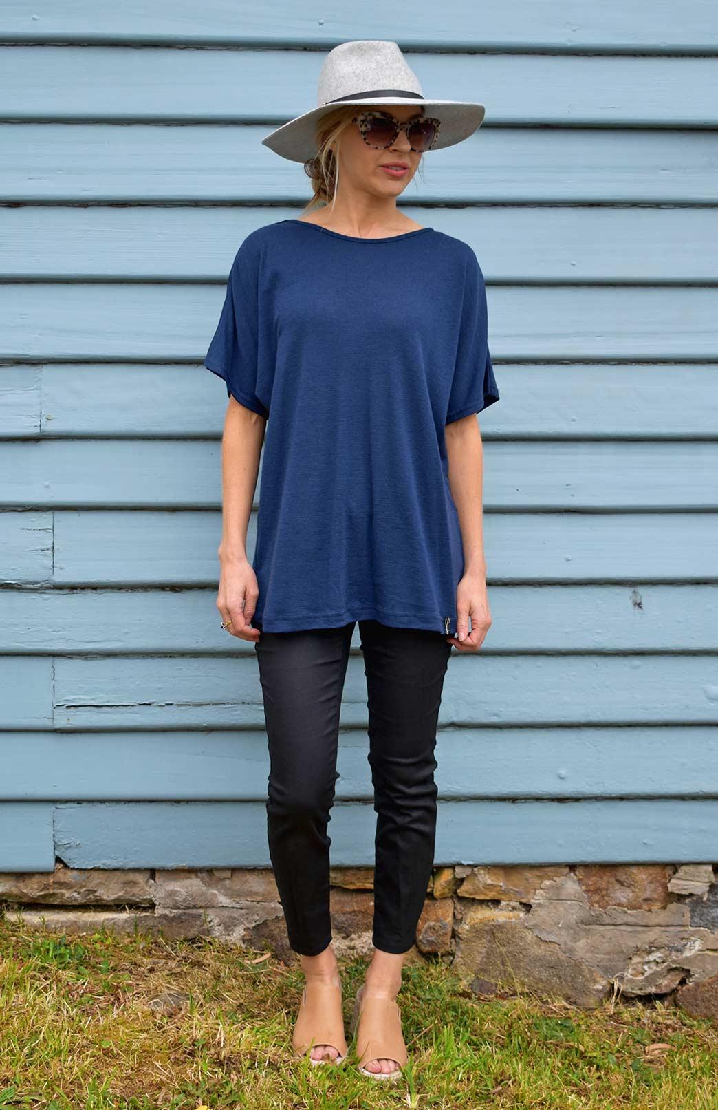 Loose T-Shirt - Women's Loose Wool Indigo Blue Summer Top - Smitten Merino Tasmania Australia