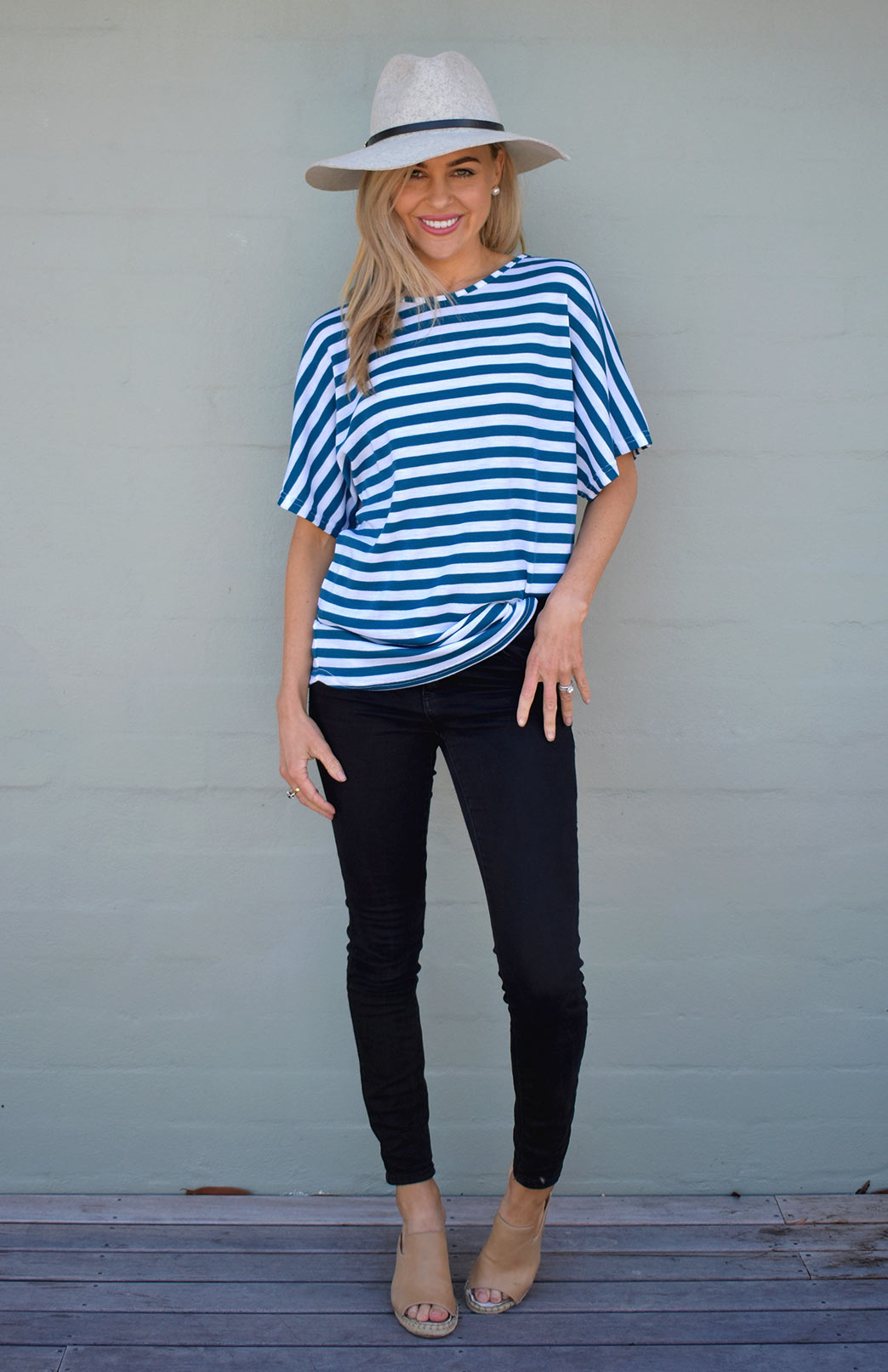 Loose T-Shirt - Women's Loose Wool Teal and Ivory Striped Summer Top - Smitten Merino Tasmania Australia