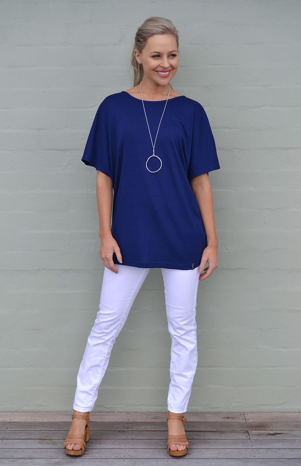 Loose T-Shirt - Women's Loose Wool Sapphire Blue Summer Top - Smitten Merino Tasmania Australia