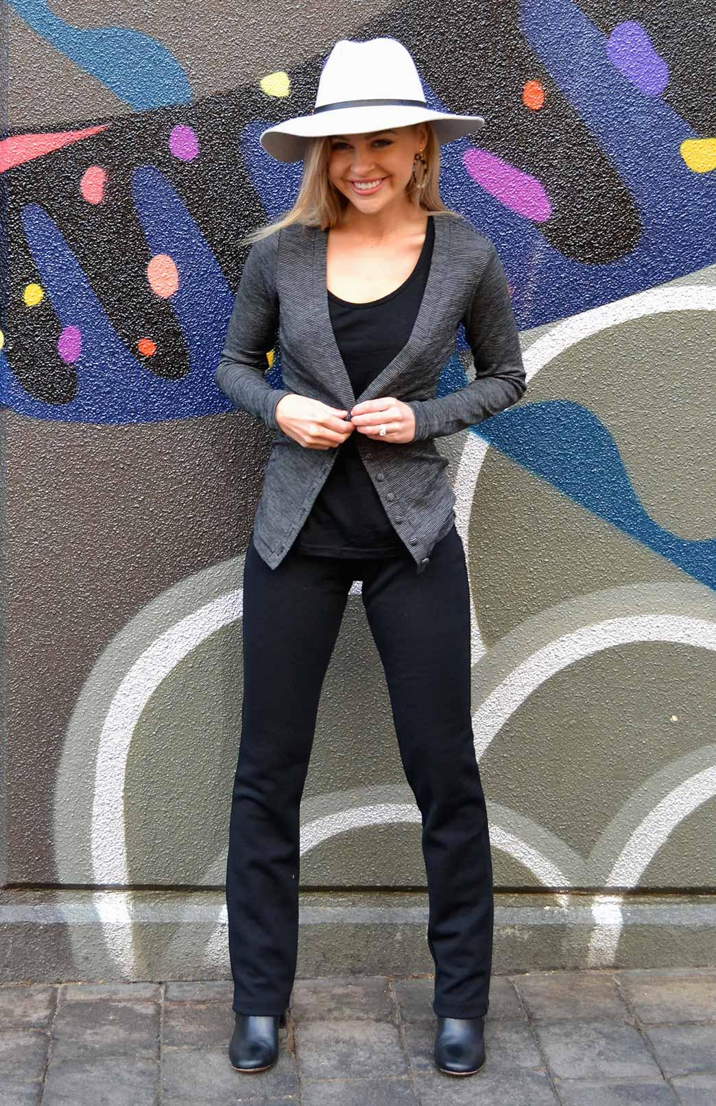 Straight Leg Pants - Heavyweight (~360g) - Women's Heavyweight Wool Straight Leg Pants with wide waistband - Smitten Merino Tasmania Australia