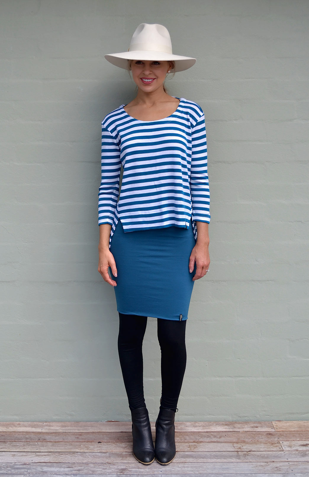 Jenny Top in Teal Ivory Stripe