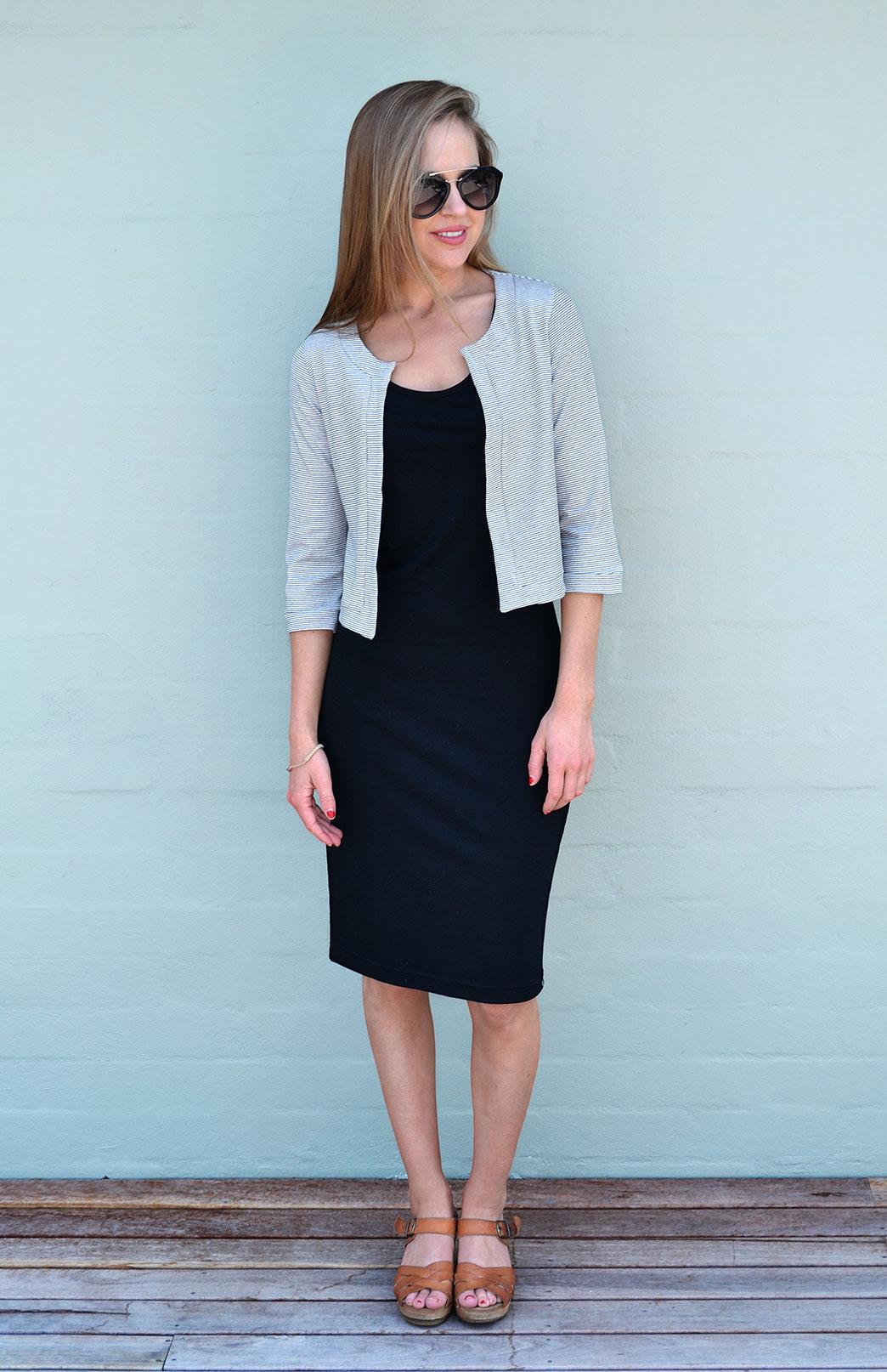 Coco Jacket - Organic Cotton - Women's Organic Cottton Black and White Cropped Bolero Jacket - Smitten Merino Tasmania Australia