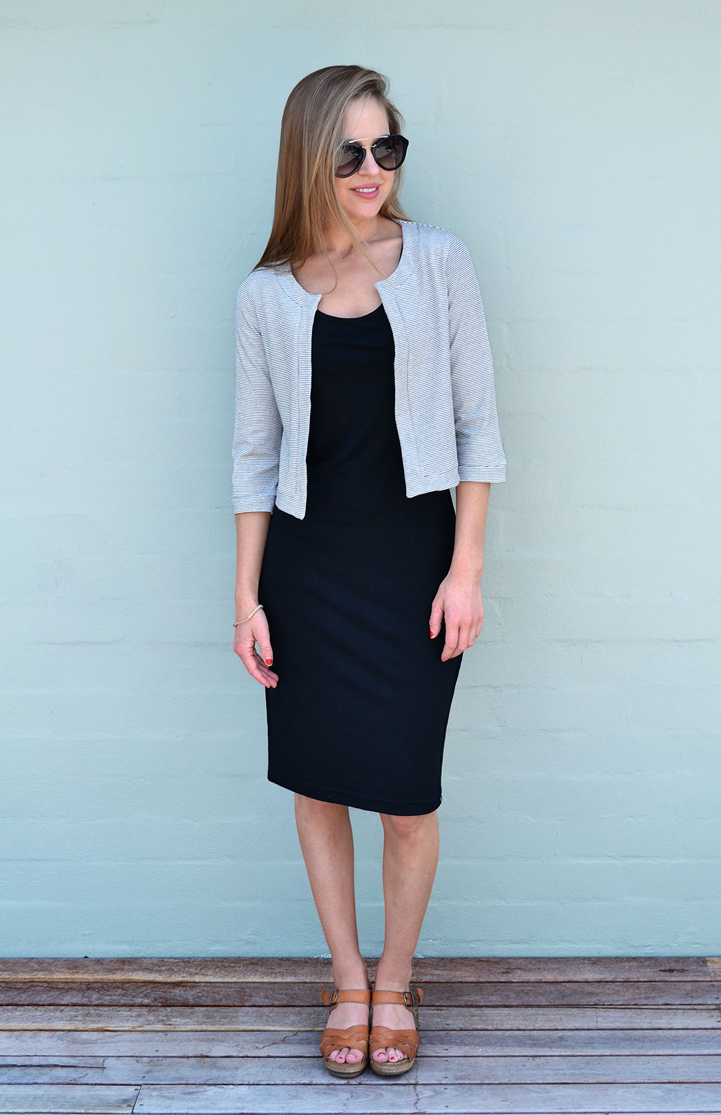 Coco Jacket - Organic Cotton - Women's Organic Cottton Black and White Cropped Bolero Jacket - Smitten Merino Tasmania Australia