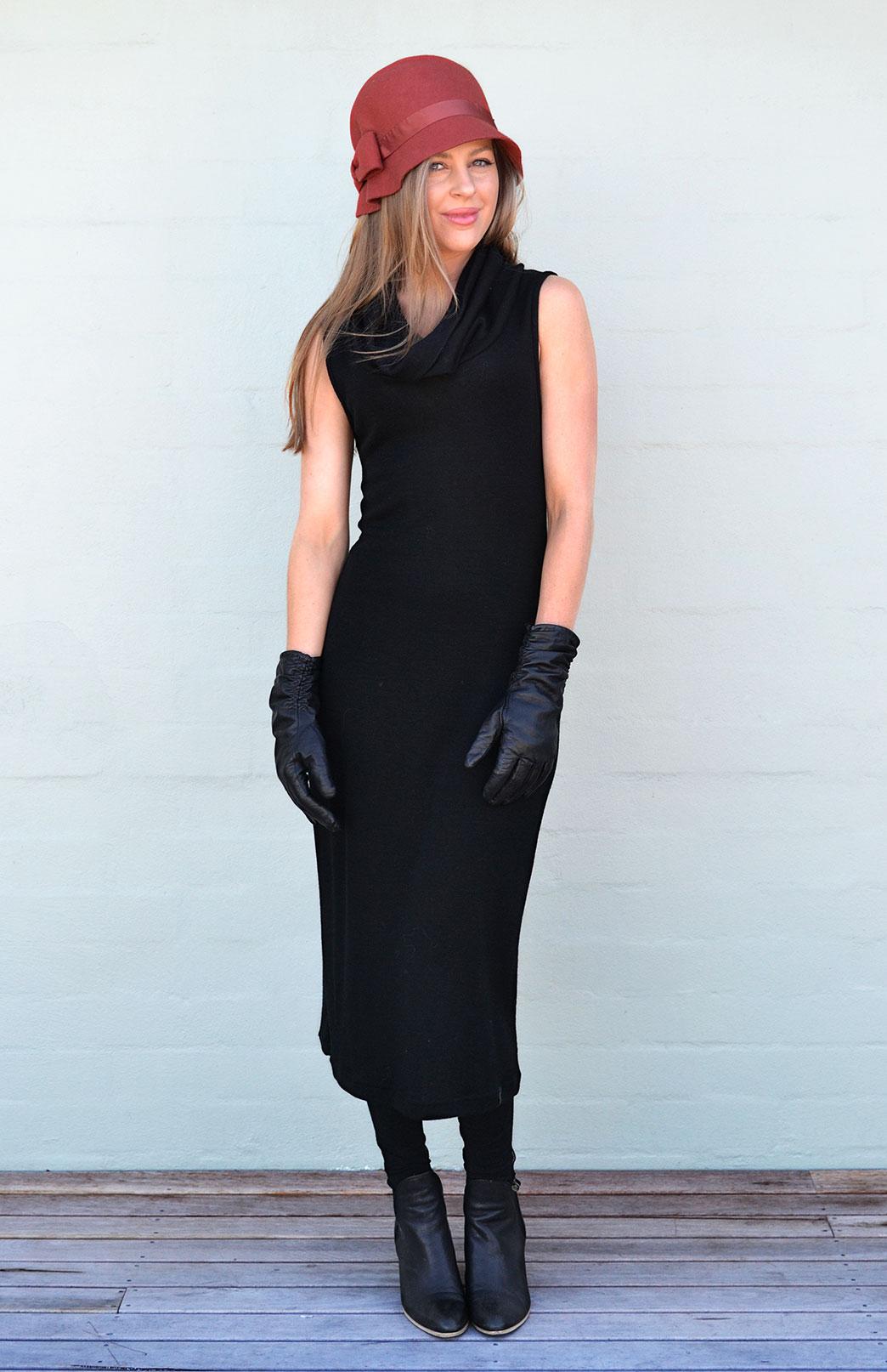 Cowl Neck Midi Dress - Women's Black Sleeveless Heavyweight Merino Cowl Neck Midi Dress for Winter - Smitten Merino Tasmania Australia