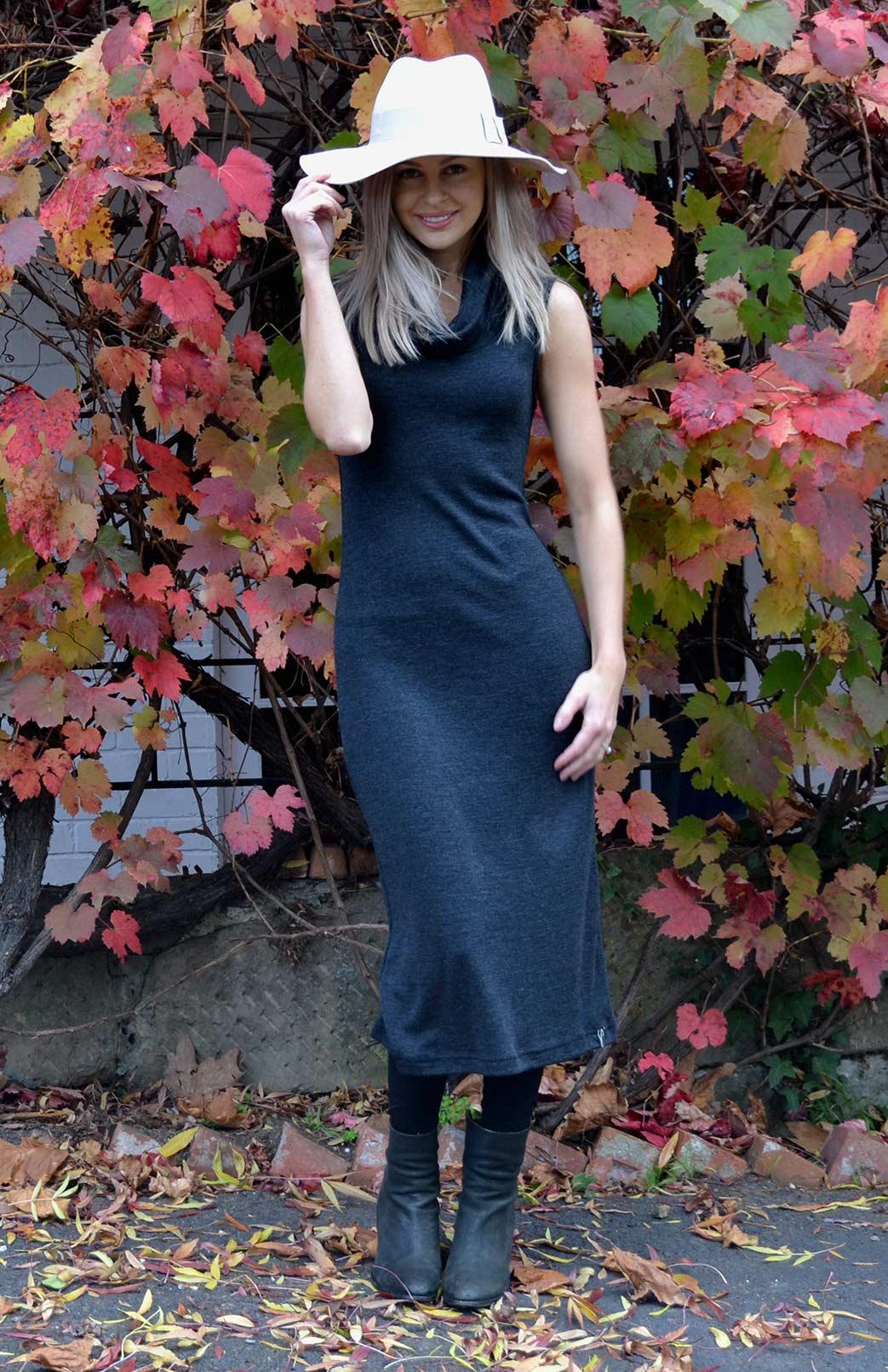 Cowl Neck Midi Dress - Women's Dark Charcoal Grey Sleeveless Heavyweight Merino Cowl Neck Midi Dress for Winter - Smitten Merino Tasmania Australia
