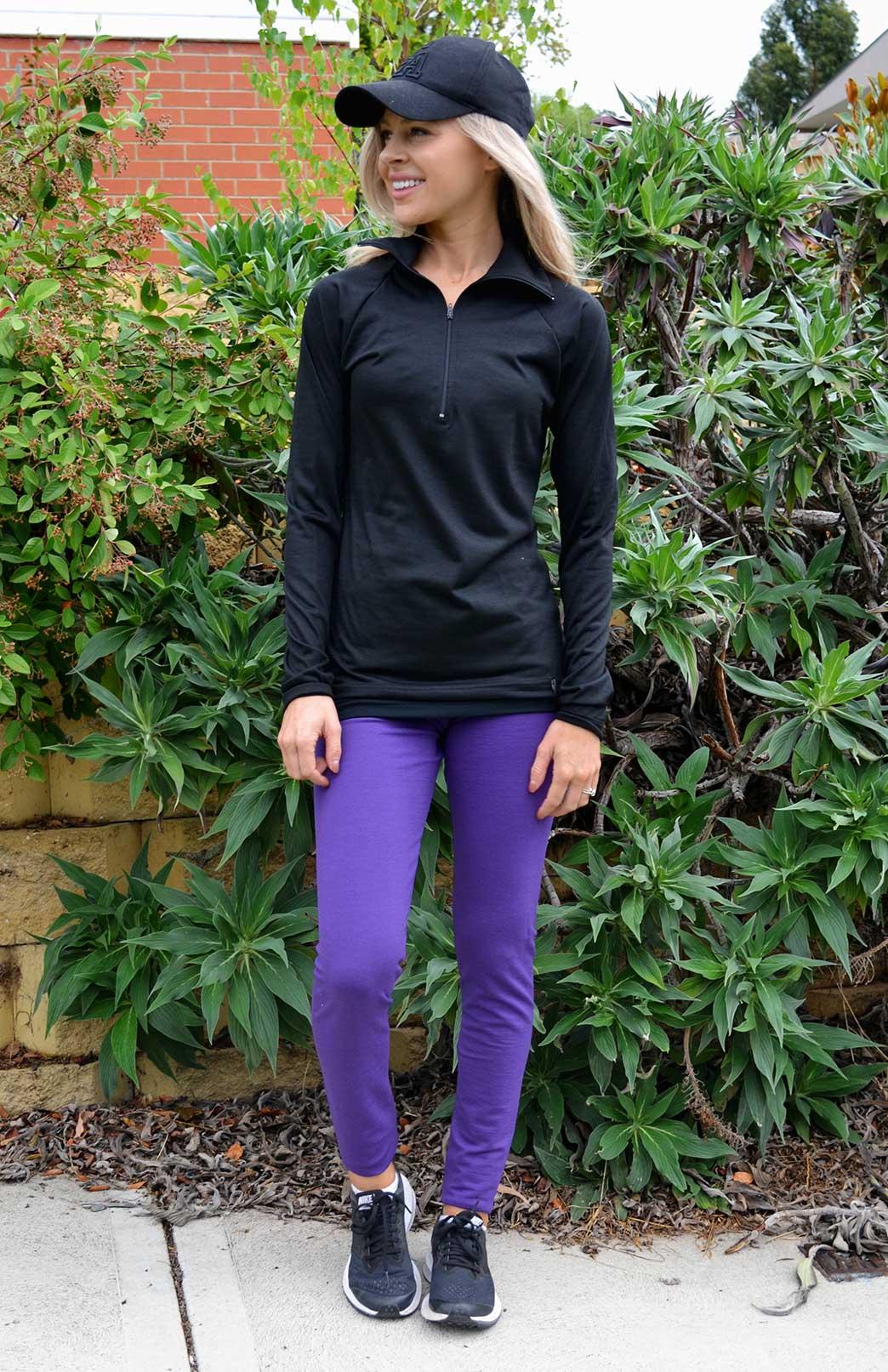 Leggings - 240g - Women's 240g Violet Purple Thermal Leggings - Smitten Merino Tasmania Australia