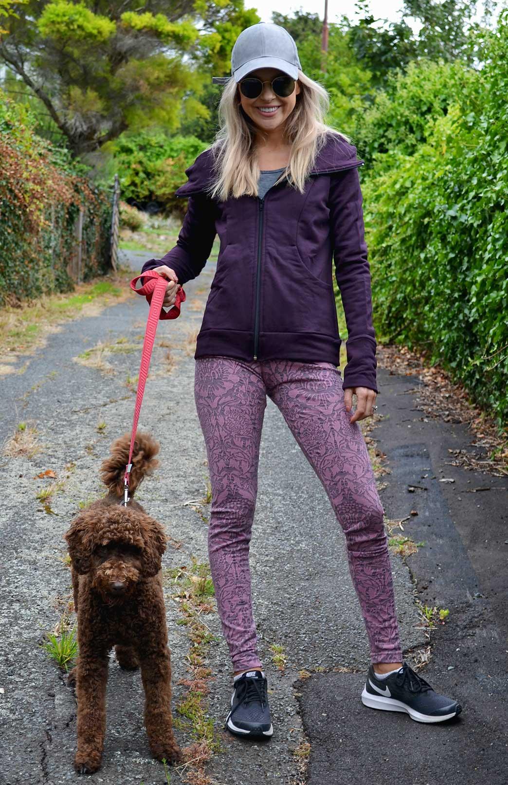 Leggings - Patterned - Women's Pink Floral Patterned Leggings with elastic waistband - Smitten Merino Tasmania Australia