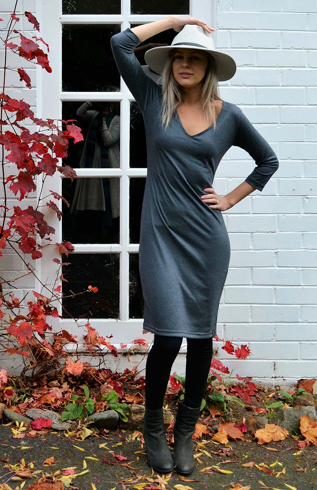 V-Neck 3/4 Sleeve Dress - Women's Charcoal Grey Merino Wool V-Neck Classic Dress - Smitten Merino Tasmania Australia