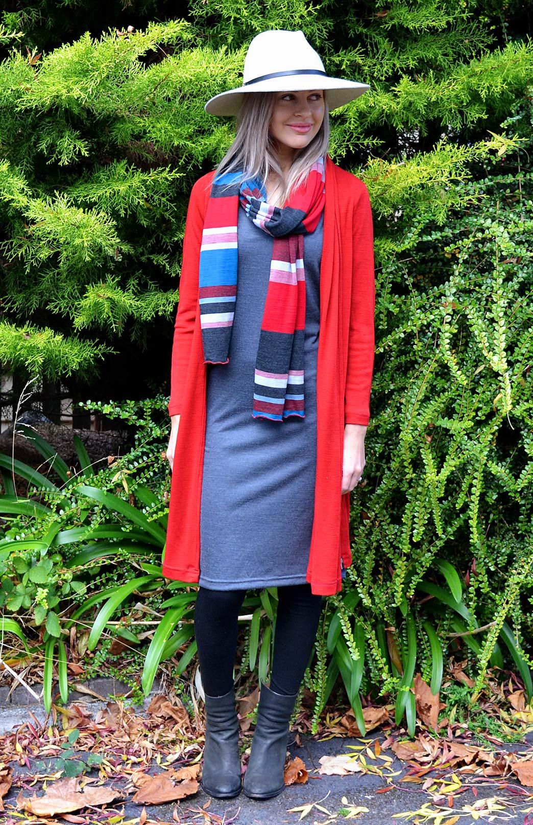 Long Drape Cardigan - Women's Flame Red Lightweight Merino Wool Long Drape - Smitten Merino Tasmania Australia