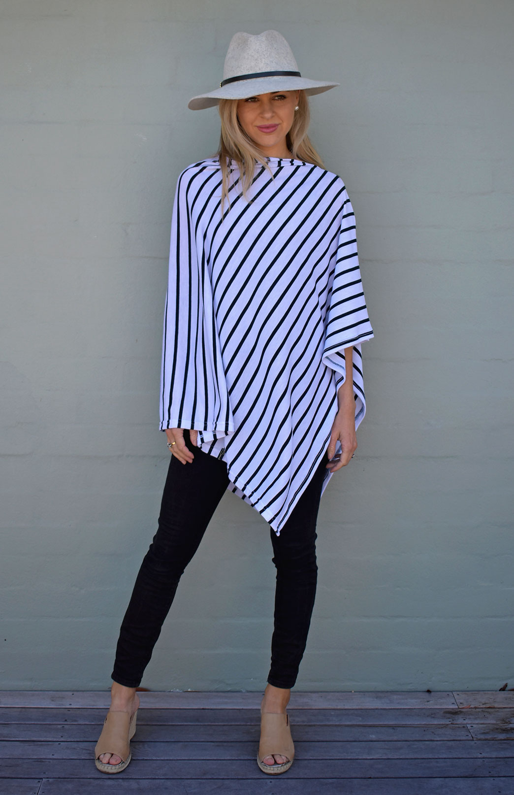 Classic Poncho - Women's Black and White Striped Merino Wool Classic Poncho for travel - Smitten Merino Tasmania Australia