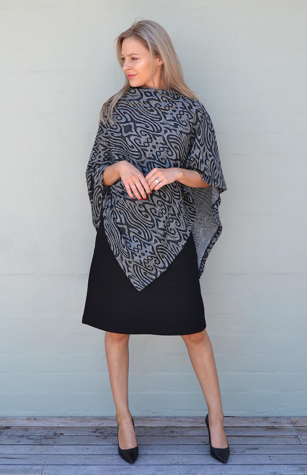 Classic Poncho - Striped & Patterned - Women's Merino Wool Classic Lightweight Poncho - Smitten Merino Tasmania Australia