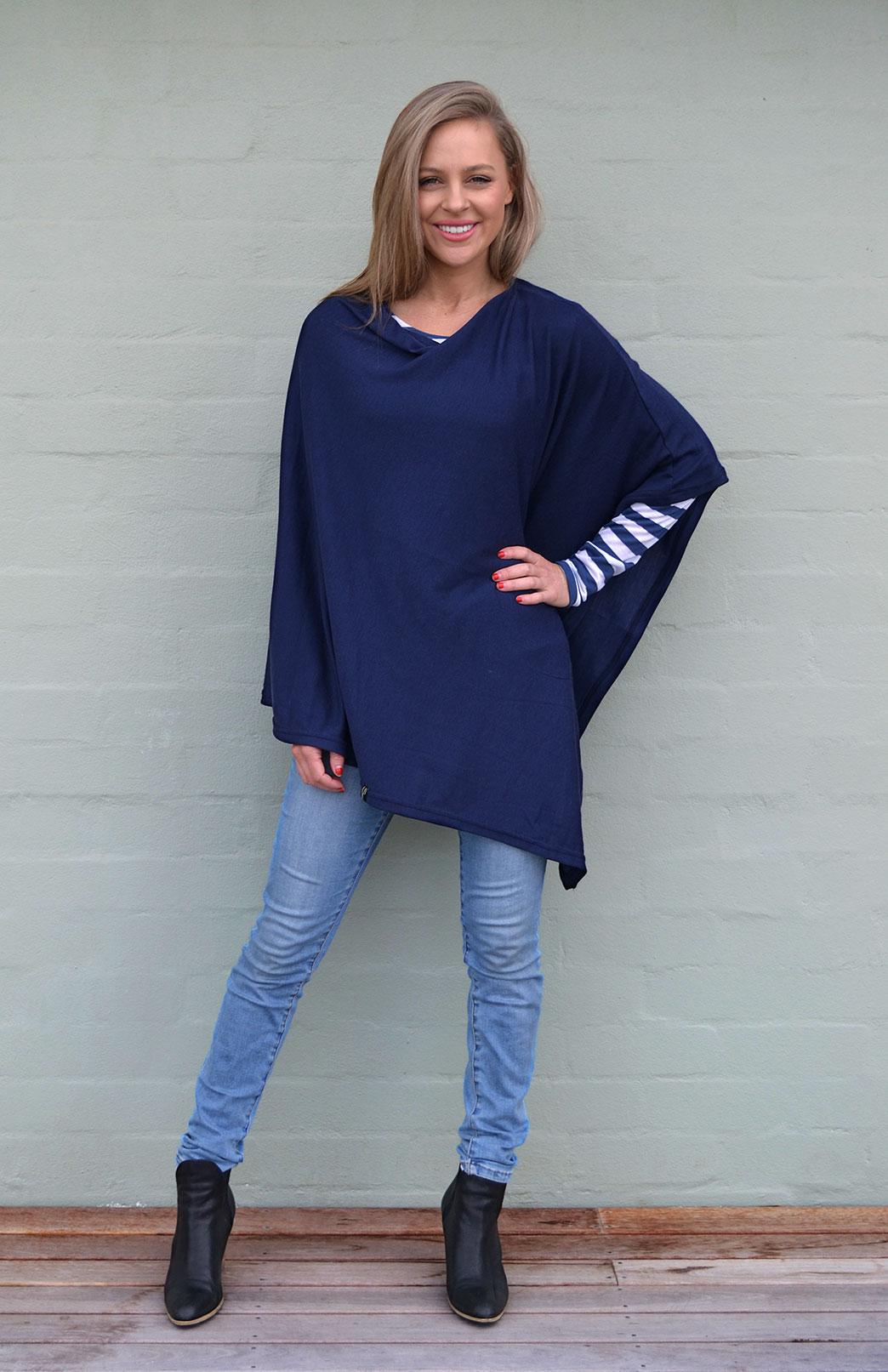 Classic Poncho - Plain - Women's Merino Wool Classic Lightweight Poncho - Smitten Merino Tasmania Australia