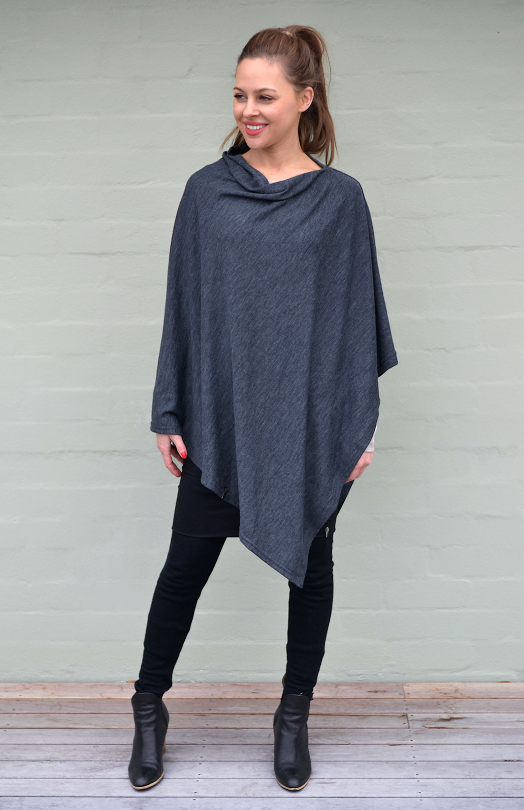 Classic Poncho in Charcoal Marl