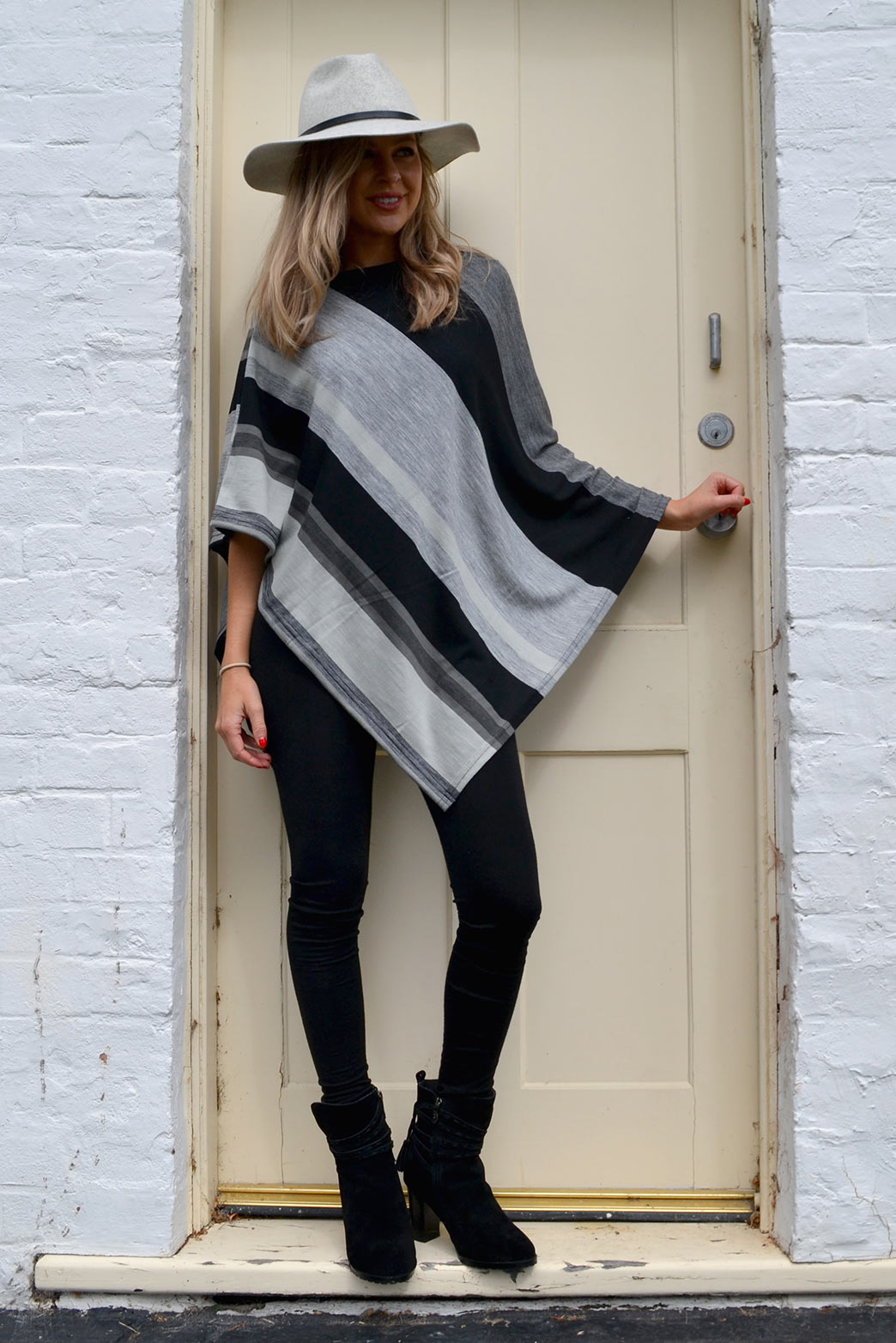 Black Multi Poncho with Black Wool Fleece Leggings