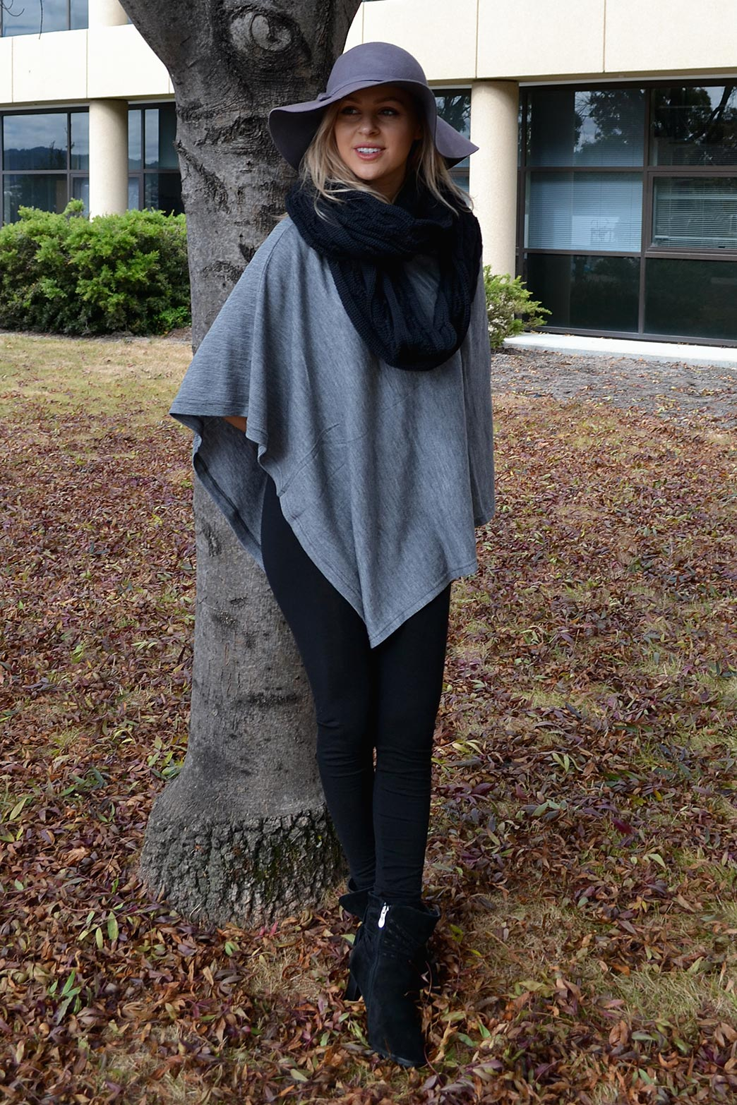 Classic Poncho in Light Grey Marl Pinstripe