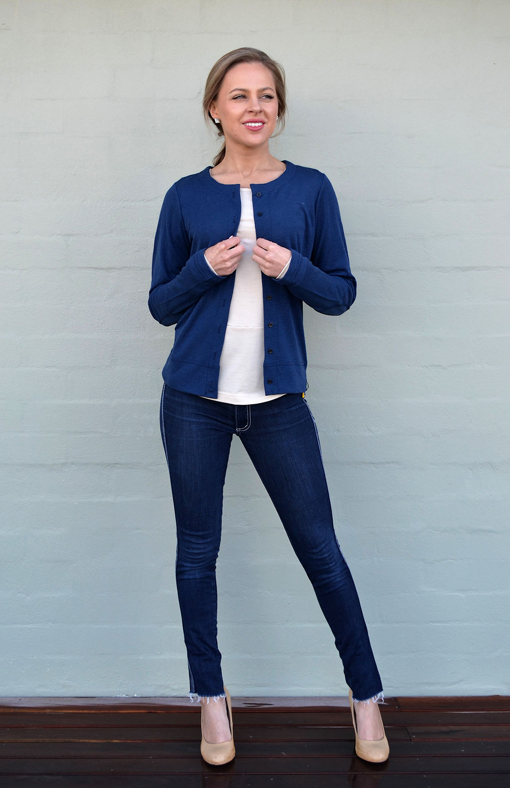 Round Neck Cardigan - Women's Dark Blue Indigo Round Neck Cardigan with Buttons - Smitten Merino Tasmania Australia