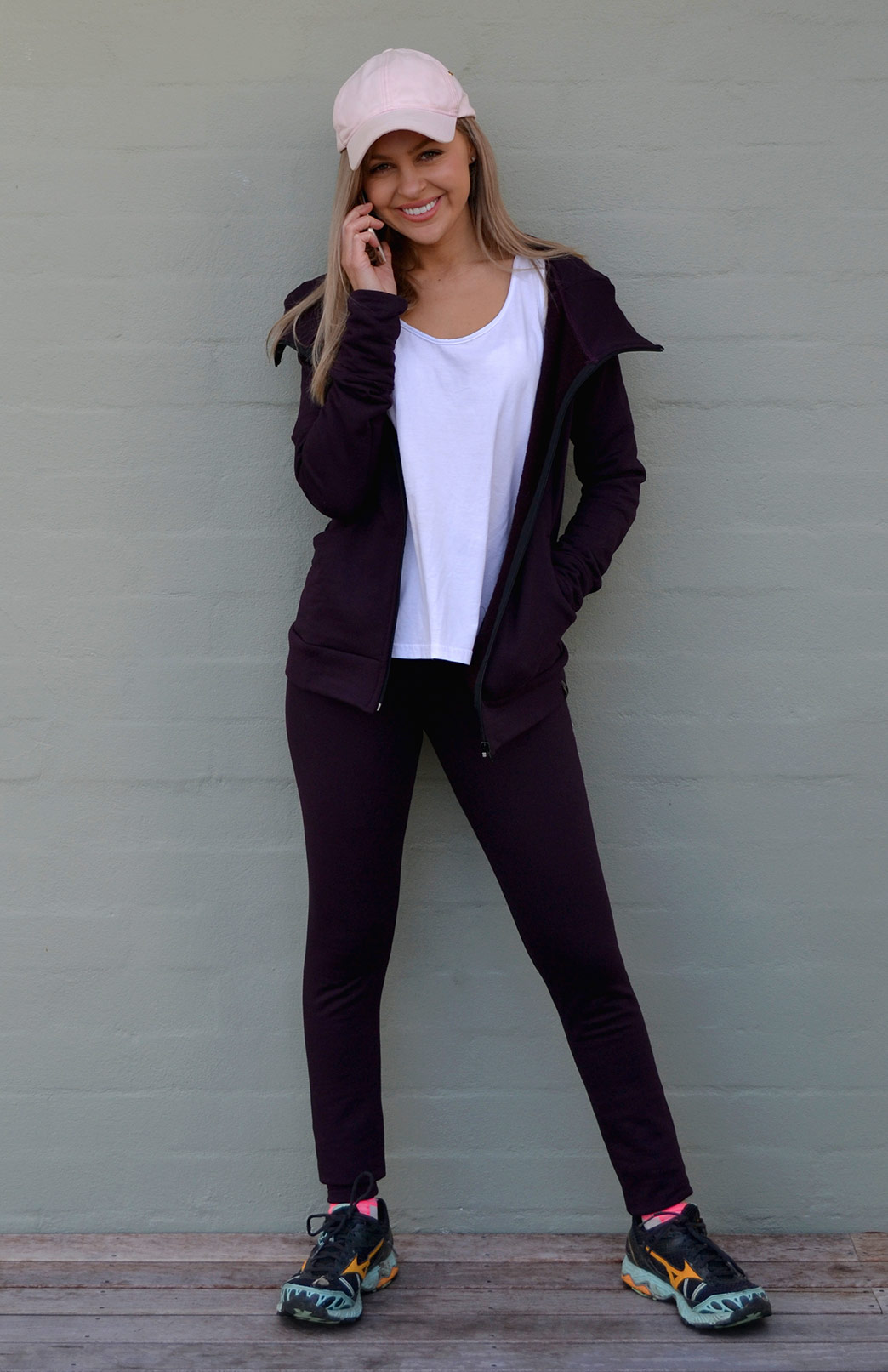 Fleece Leggings - Women's Plum Merino Blend Fleece Winter Leggings - Smitten Merino Tasmania Australia