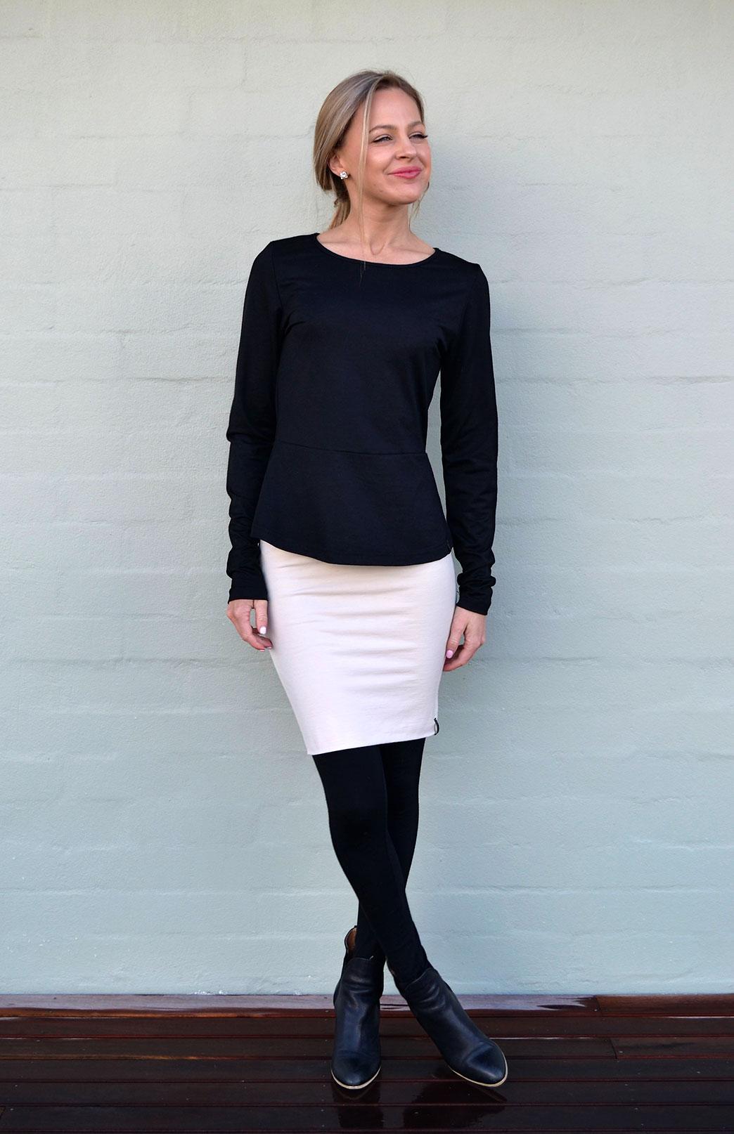 Peplum Top - Long Sleeved - Women's Black Long Sleeve Wool Winter Top - Smitten Merino Tasmania Australia