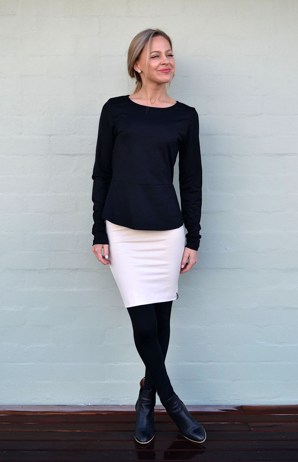 Peplum Top - Long Sleeved - Women's Black Long Sleeve Wool Winter Top - Smitten Merino Tasmania Australia