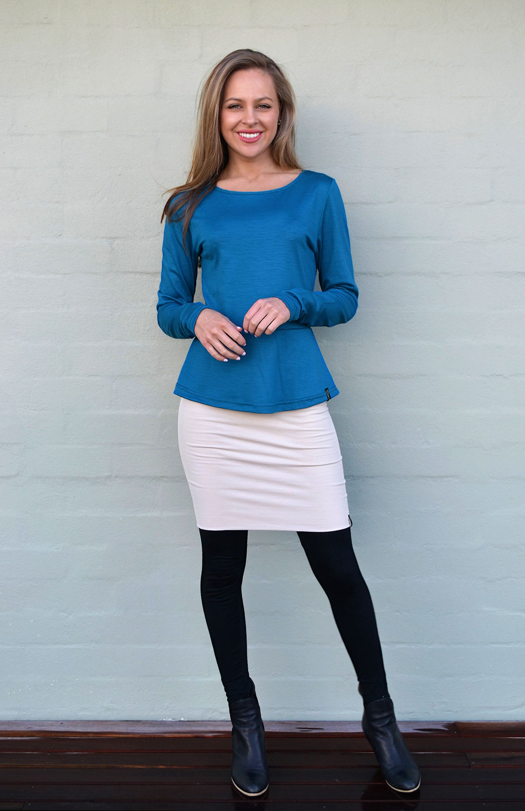 Peplum Top - Long Sleeved - Women's Dragonfly Teal Long Sleeve Wool Winter Top - Smitten Merino Tasmania Australia