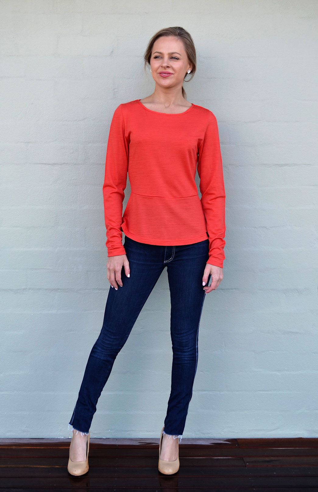 Peplum Top - Long Sleeved - Women's Paprika Orange Long Sleeve Wool Winter Top - Smitten Merino Tasmania Australia