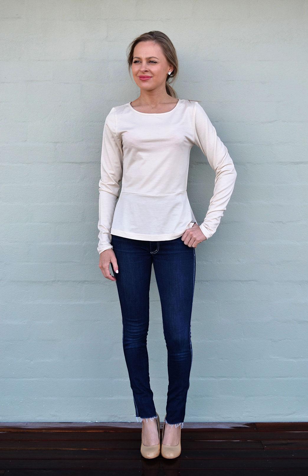 Peplum Top - Long Sleeved - Women's Cream Long Sleeve Wool Winter Top - Smitten Merino Tasmania Australia