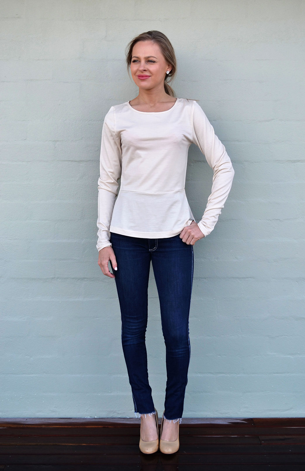 Peplum Top - Long Sleeved - Women's Cream Long Sleeve Wool Winter Top - Smitten Merino Tasmania Australia