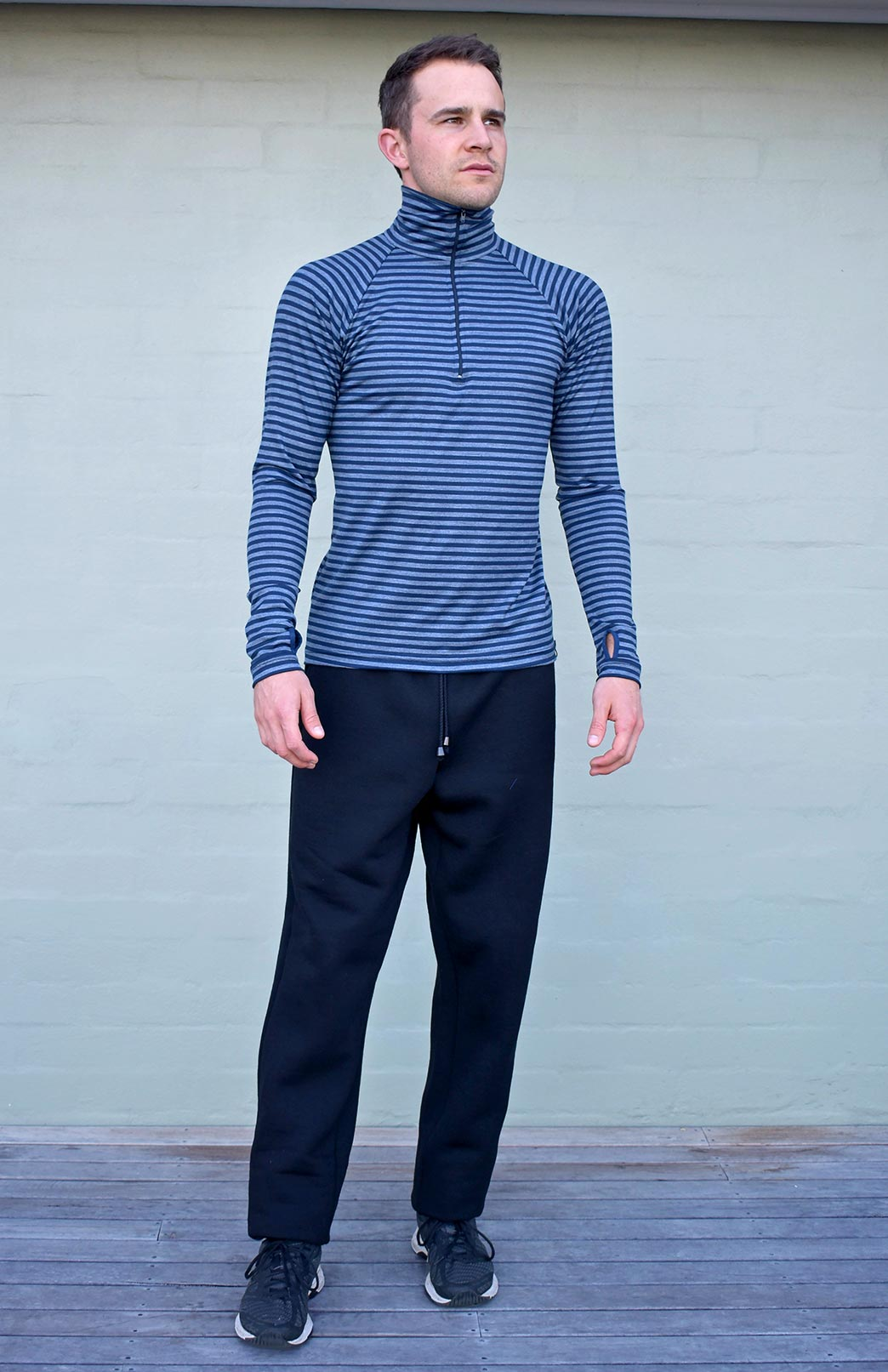 Zip Neck Top - Mid-Weight (~220g) - Men's Indigo Blue & Grey Stripe Mid-Weight Merino Wool Long Sleeved Zip Neck Top with Thumb Holes for Layering with Thermals - Smitten Merino Tasmania Australia