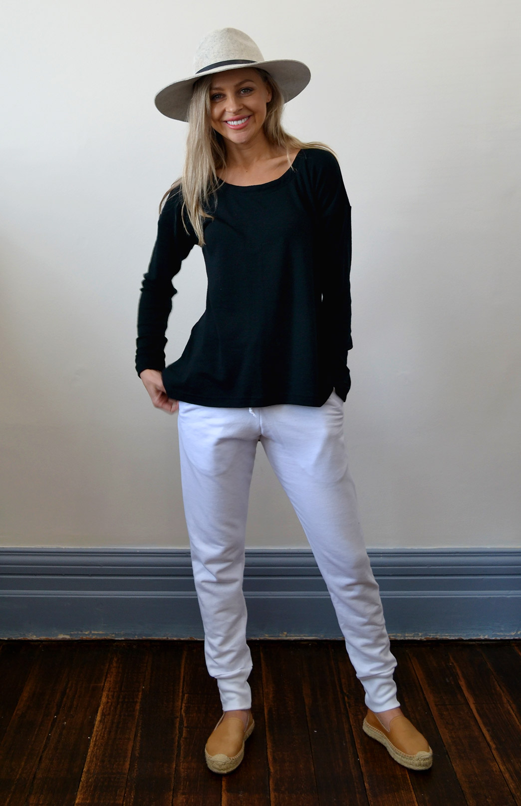 Lola Top - Women's Black Wool Long Sleeve Winter Top - Smitten Merino Tasmania Australia