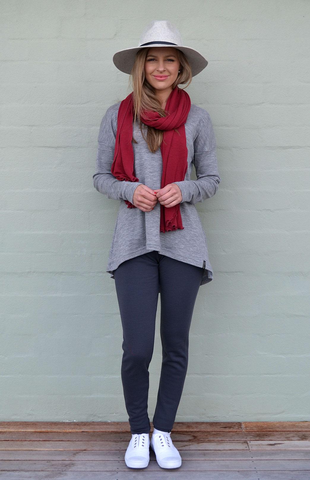 Lola Top - Women's Grey Merino Wool Long Sleeve Lola Top - Smitten Merino Tasmania Australia